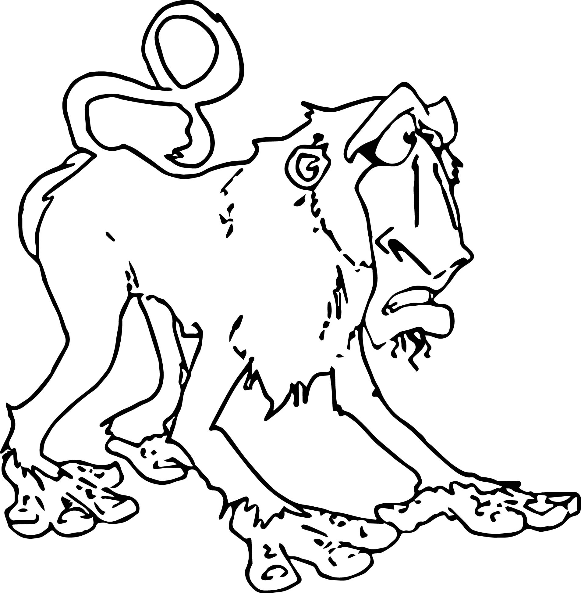 Funny Baboon Cartoon Coloring Page