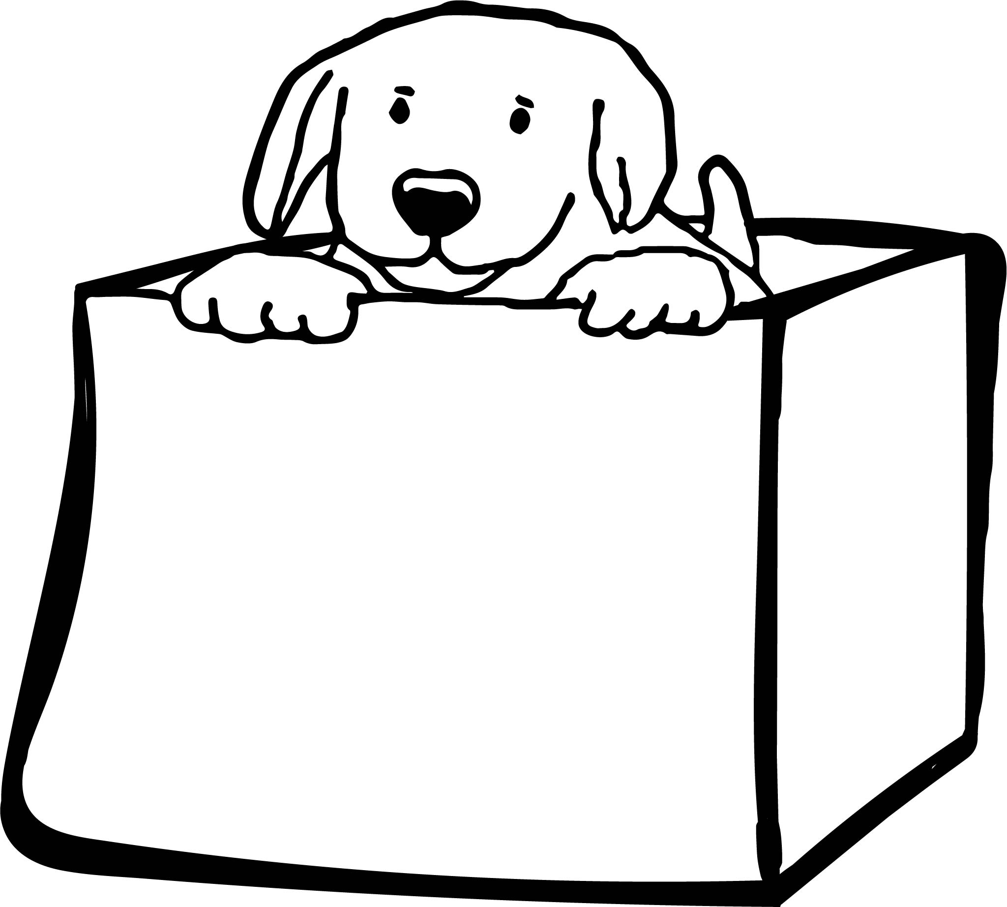 Funny Dogs Puppy In Cardboard Box Puppy Dog Coloring Page