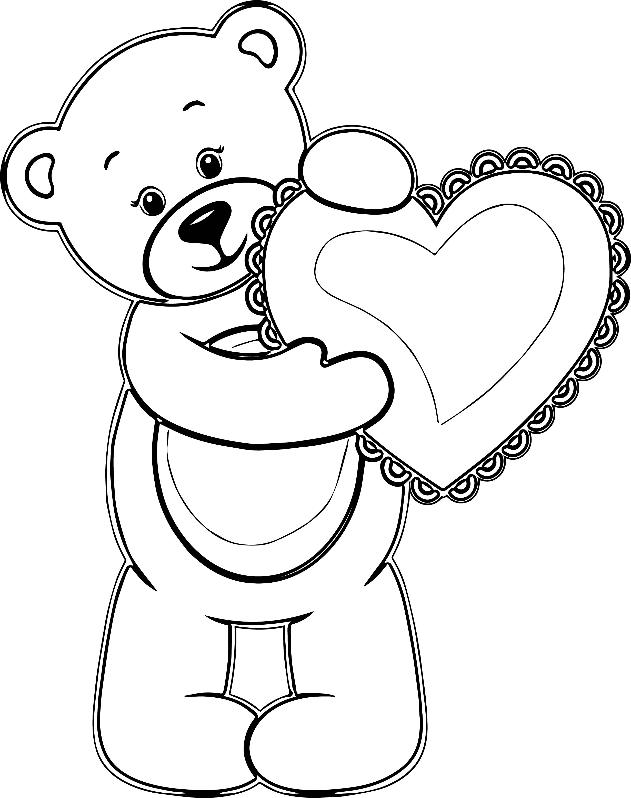 Girl Bear Heart Coloring Page
