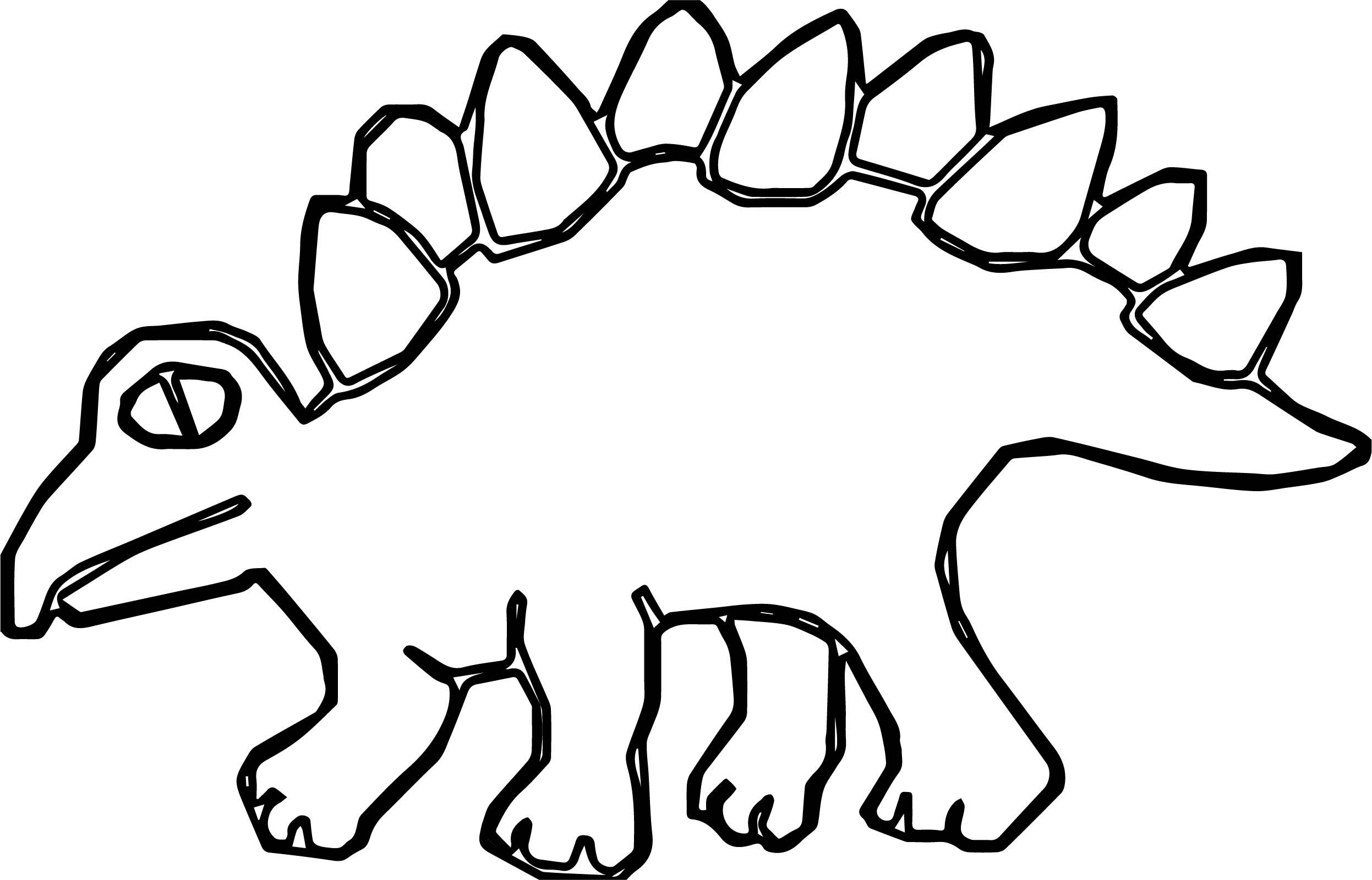 Green Art Dinosaur Stegosaurus Ancient Spikes Coloring Page