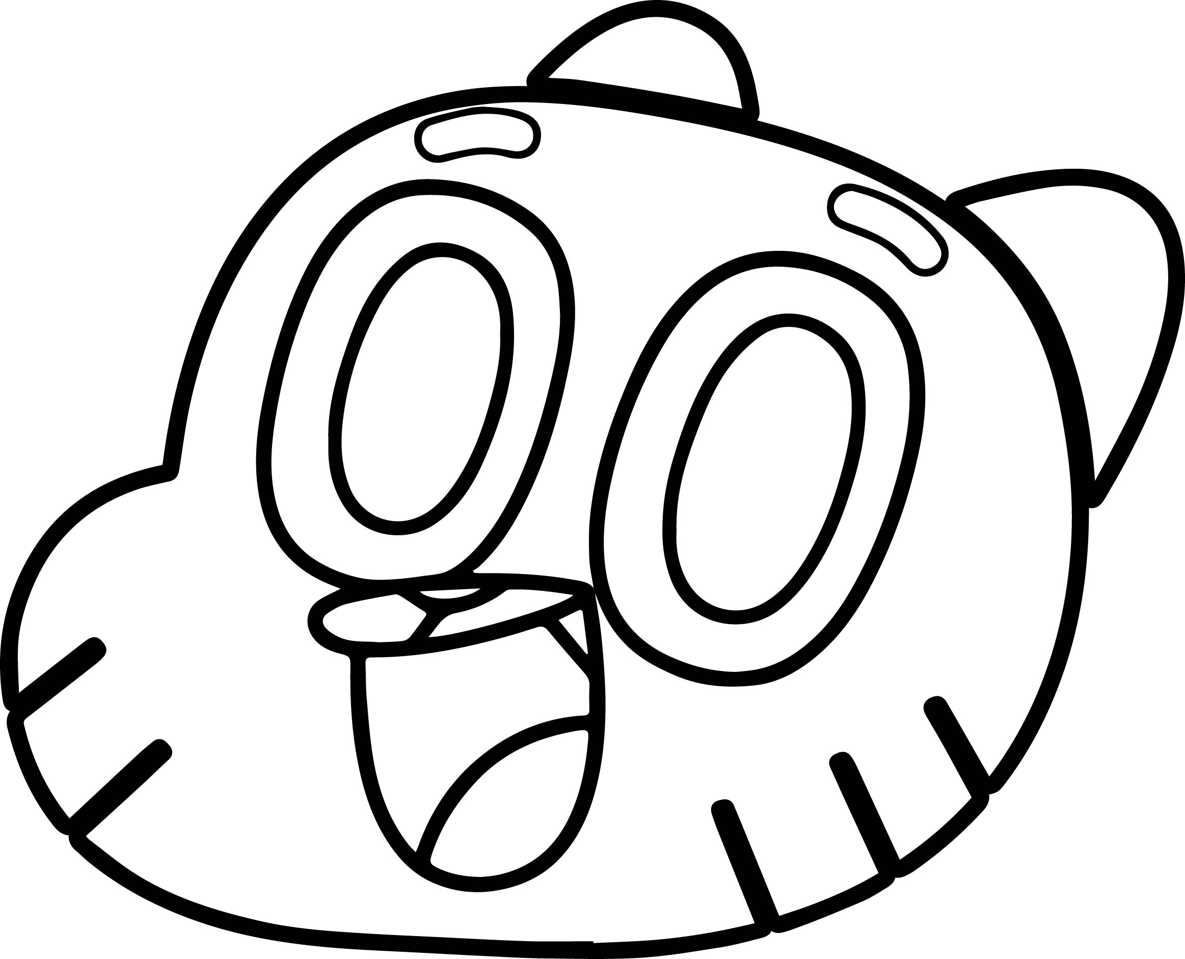 Gumball Face Coloring Pages