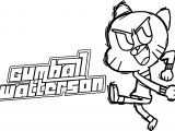 Gumball Waterson Kick Text Coloring Page
