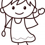 Happy Children Girl Coloring Page
