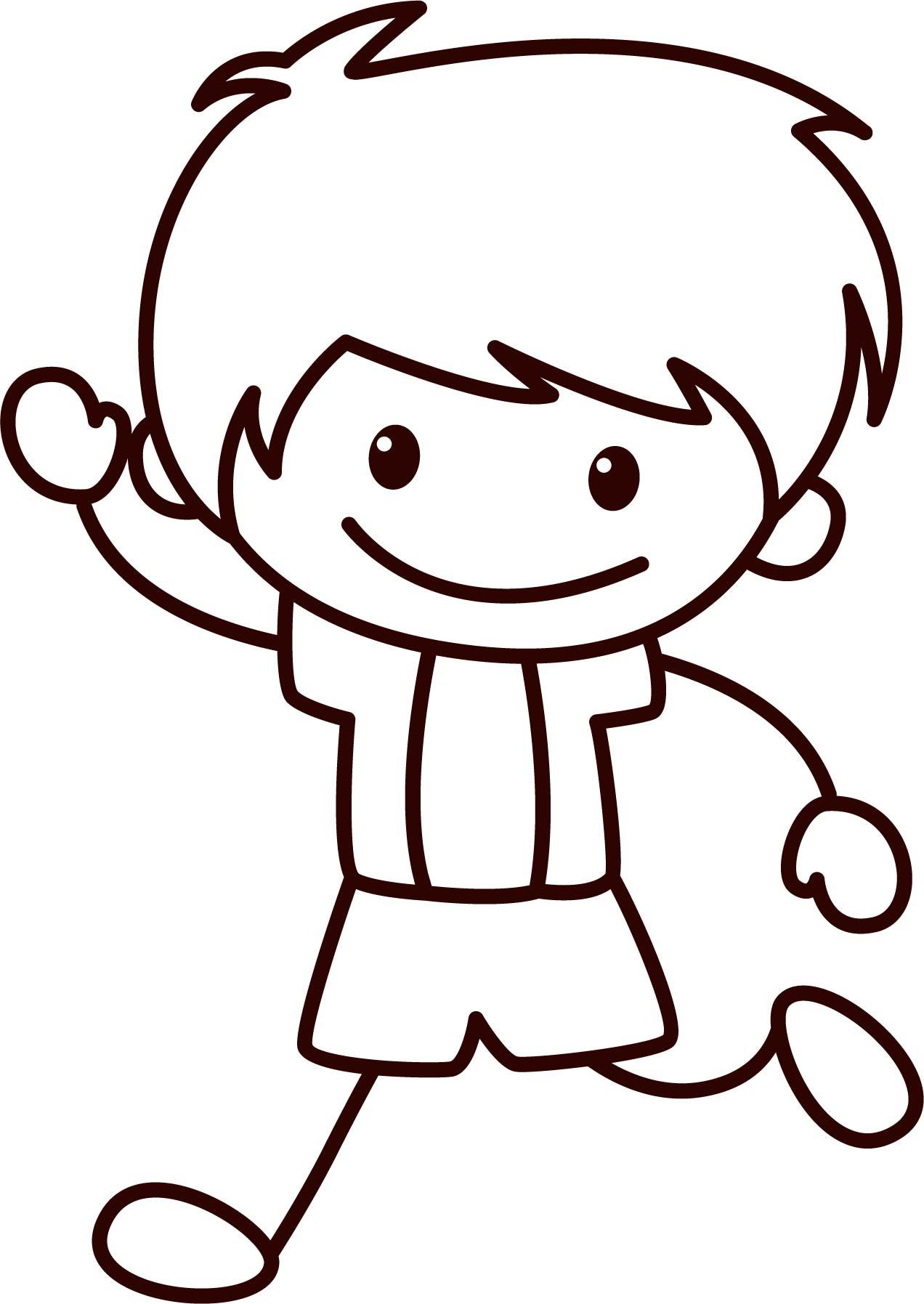 Happy Children School Boy Coloring Page