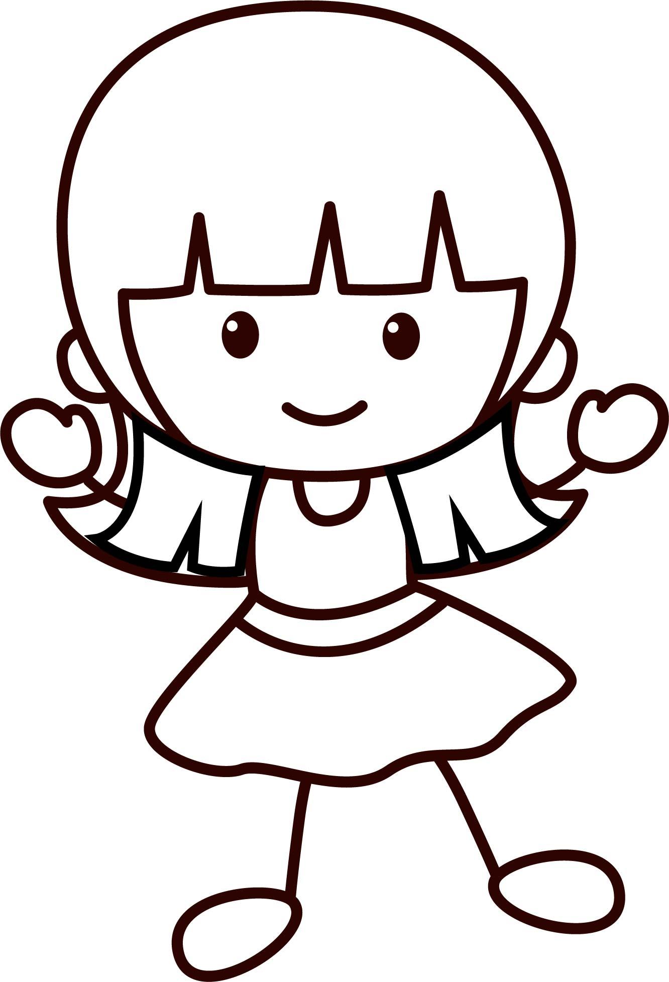 Happy Children School Girl Coloring Page