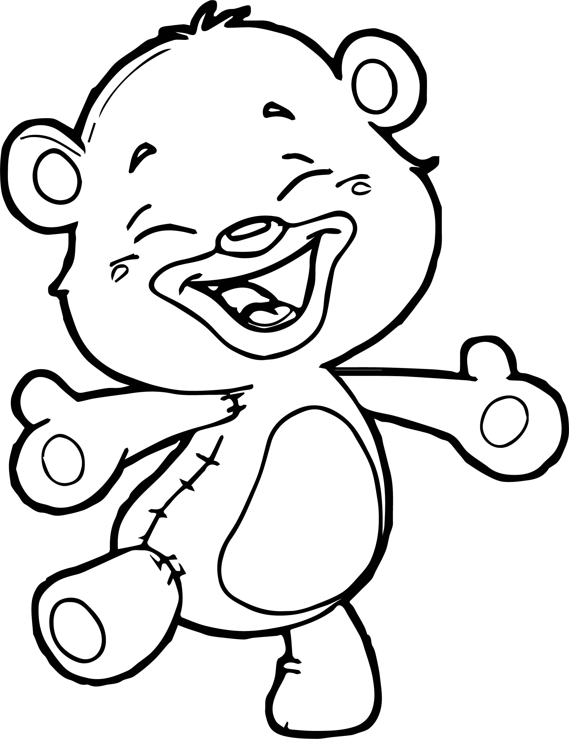 Happy Small Bear Coloring Page