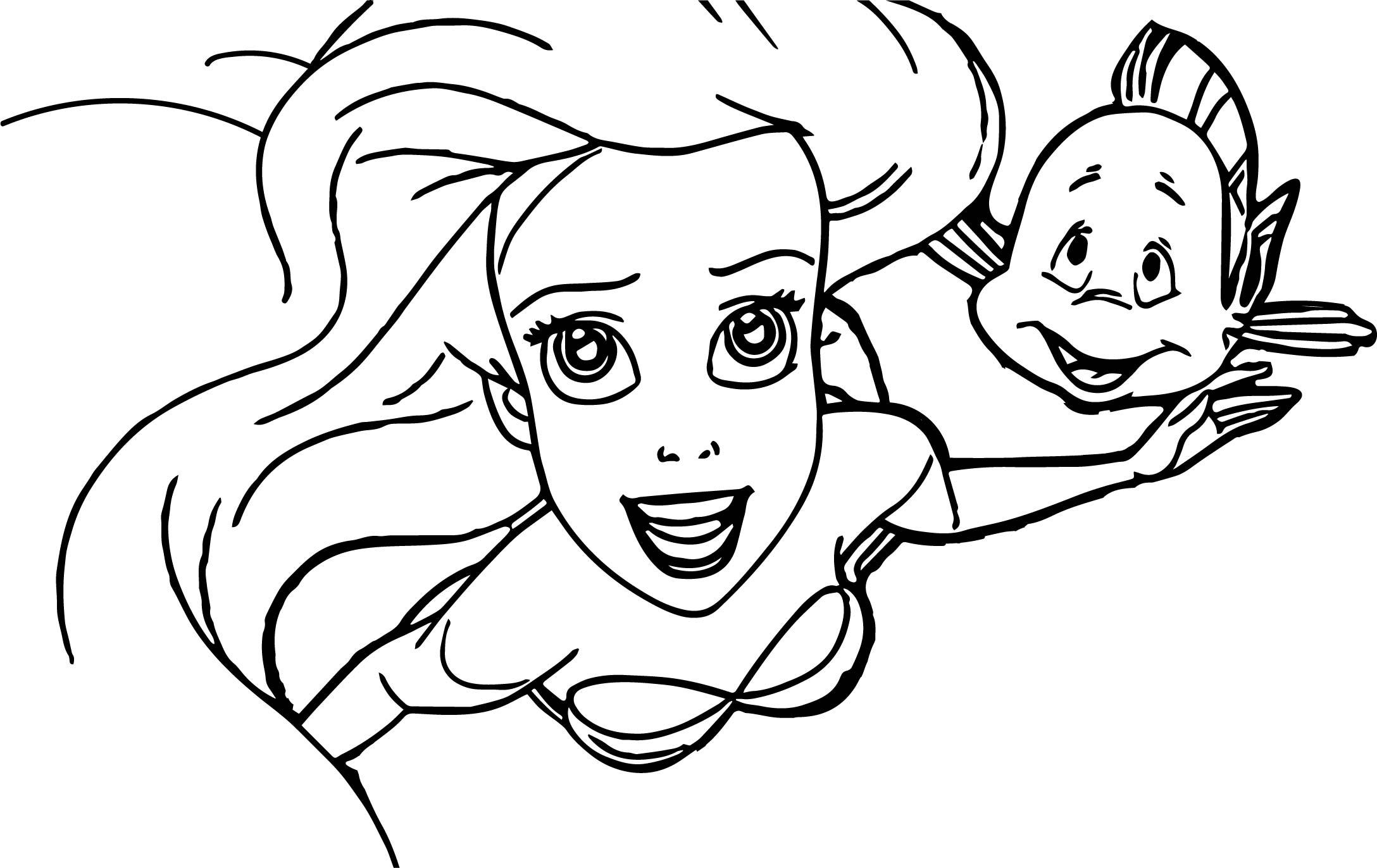 In Ariel Mermaid Coloring Page