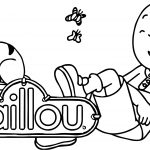 Laugh Caillou And Cat Coloring Page