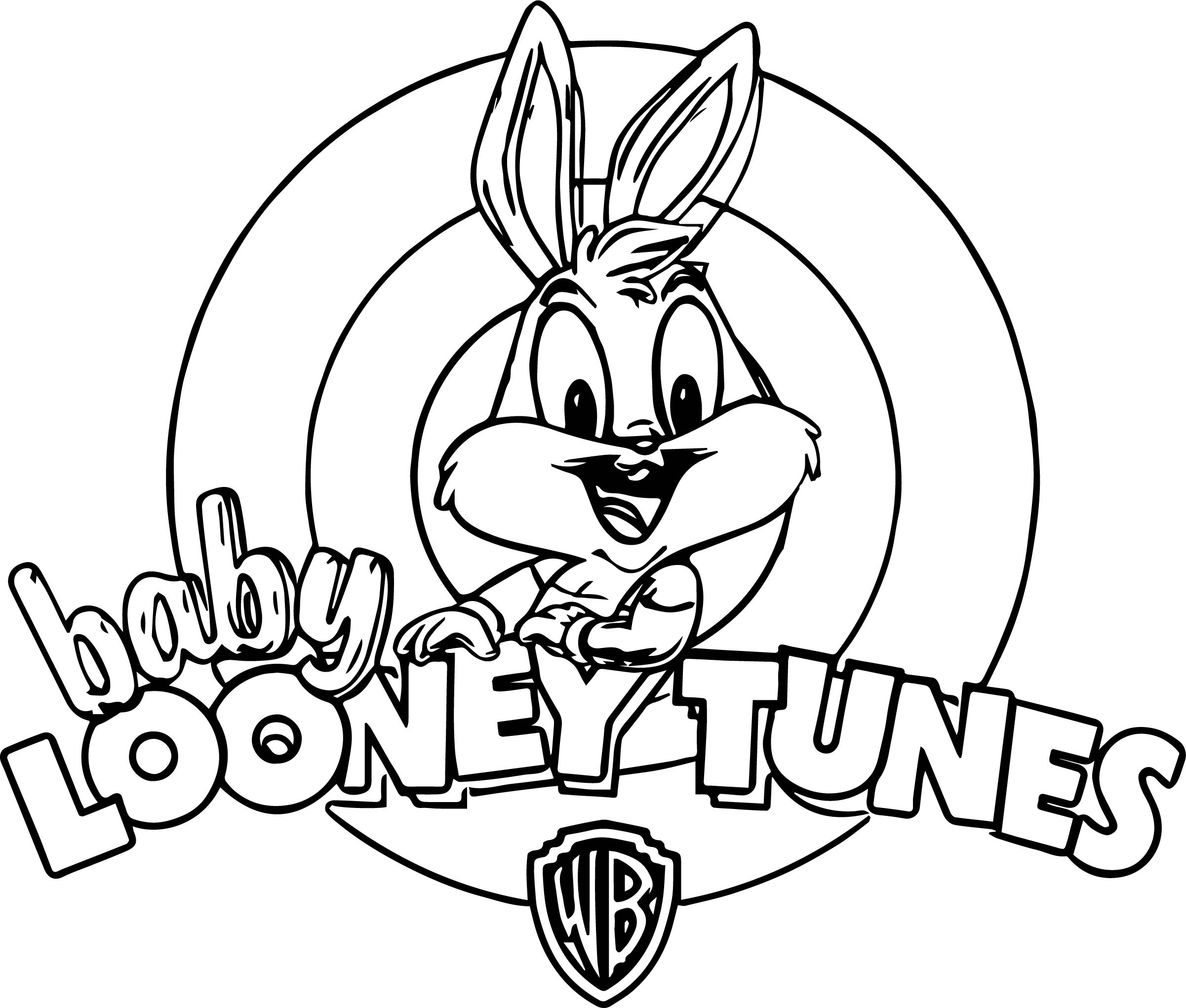 Looney Tunes Bunny And Logo Kids Coloring Page