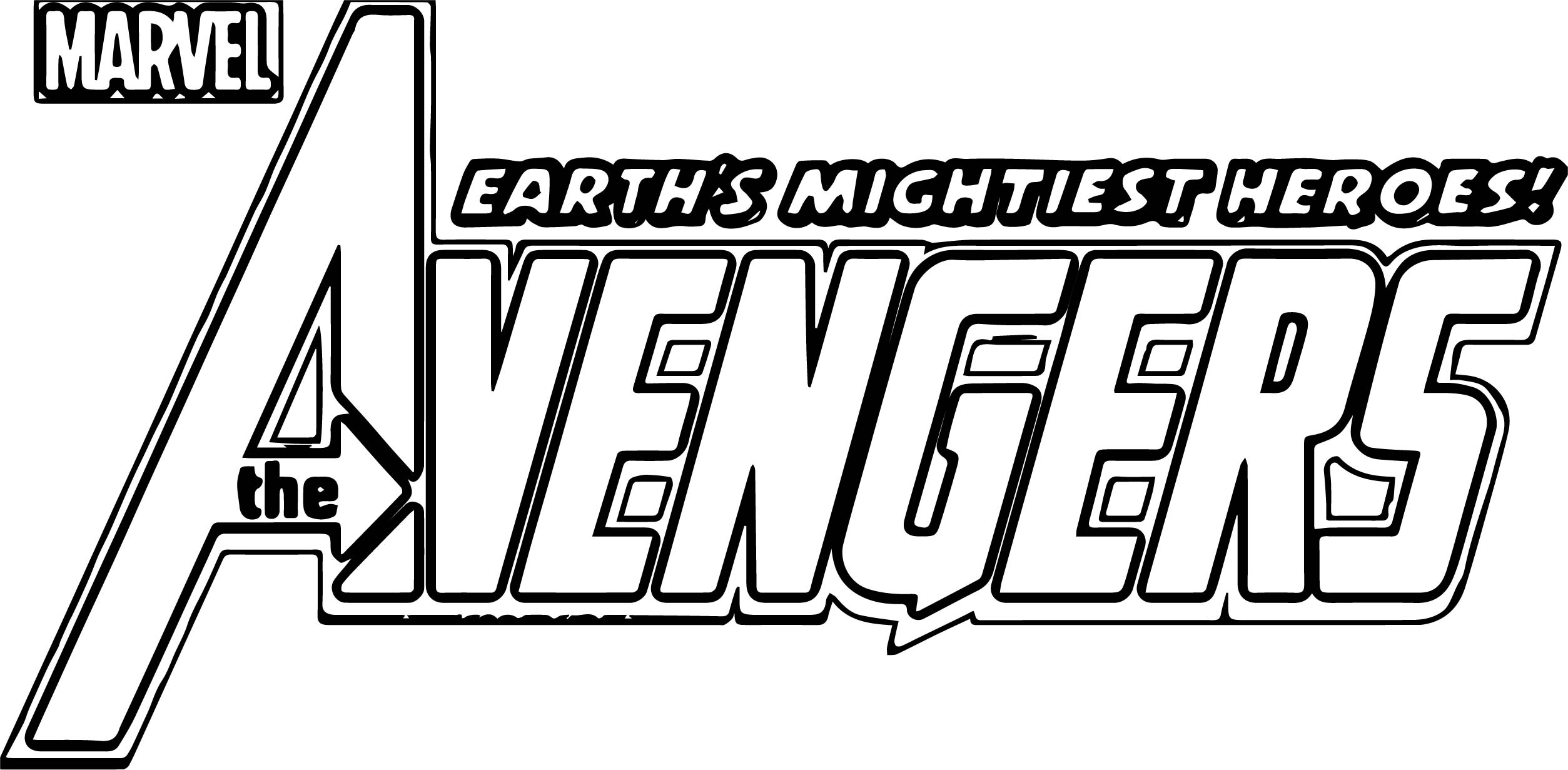 Marvel Avengers Text Coloring Page