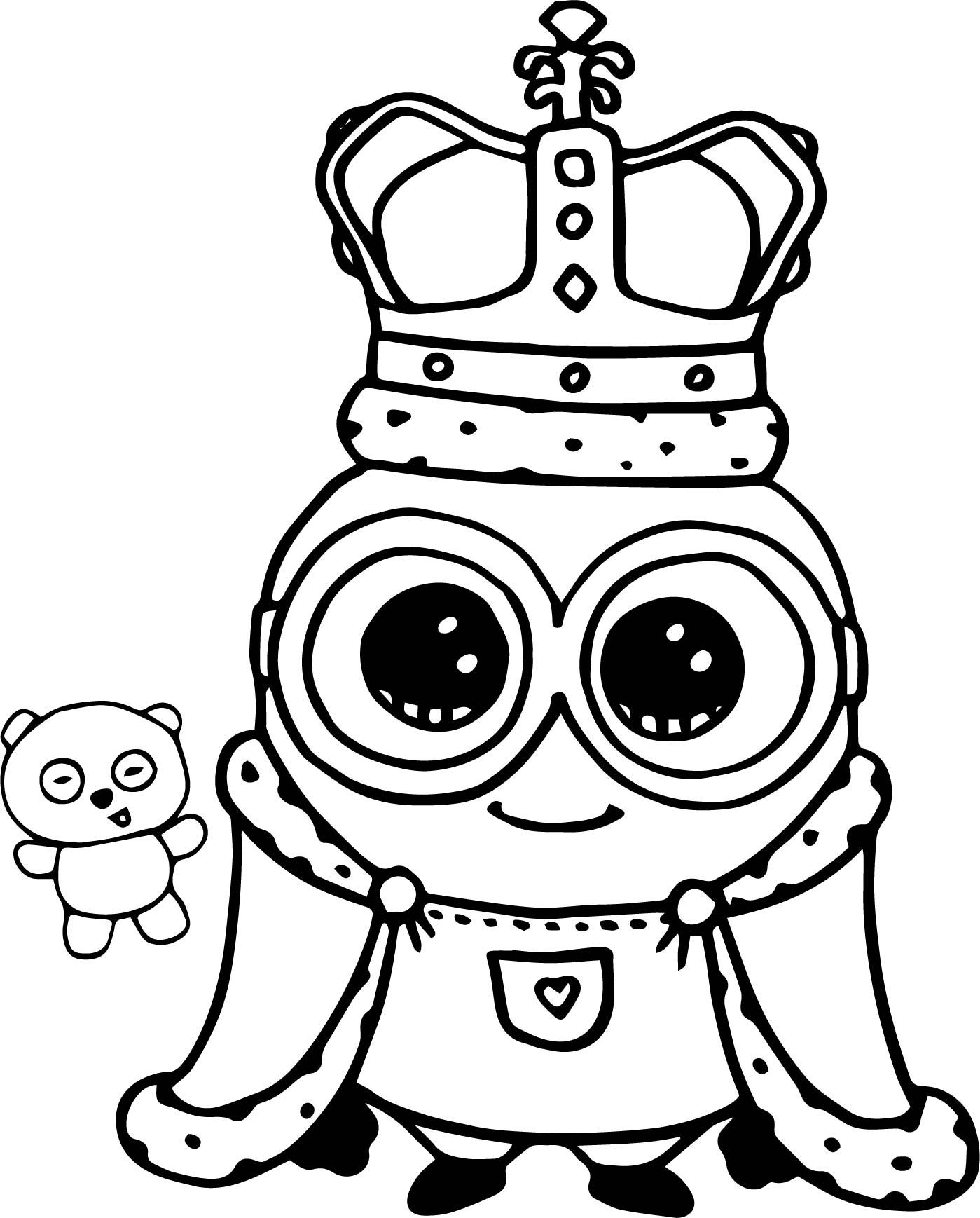 Minion king bob cute coloring page for Draw so cute coloring pages