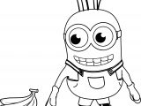 Minion Looking Banana Coloring Page
