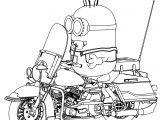 Minion Riding Motobcycle Coloring Page