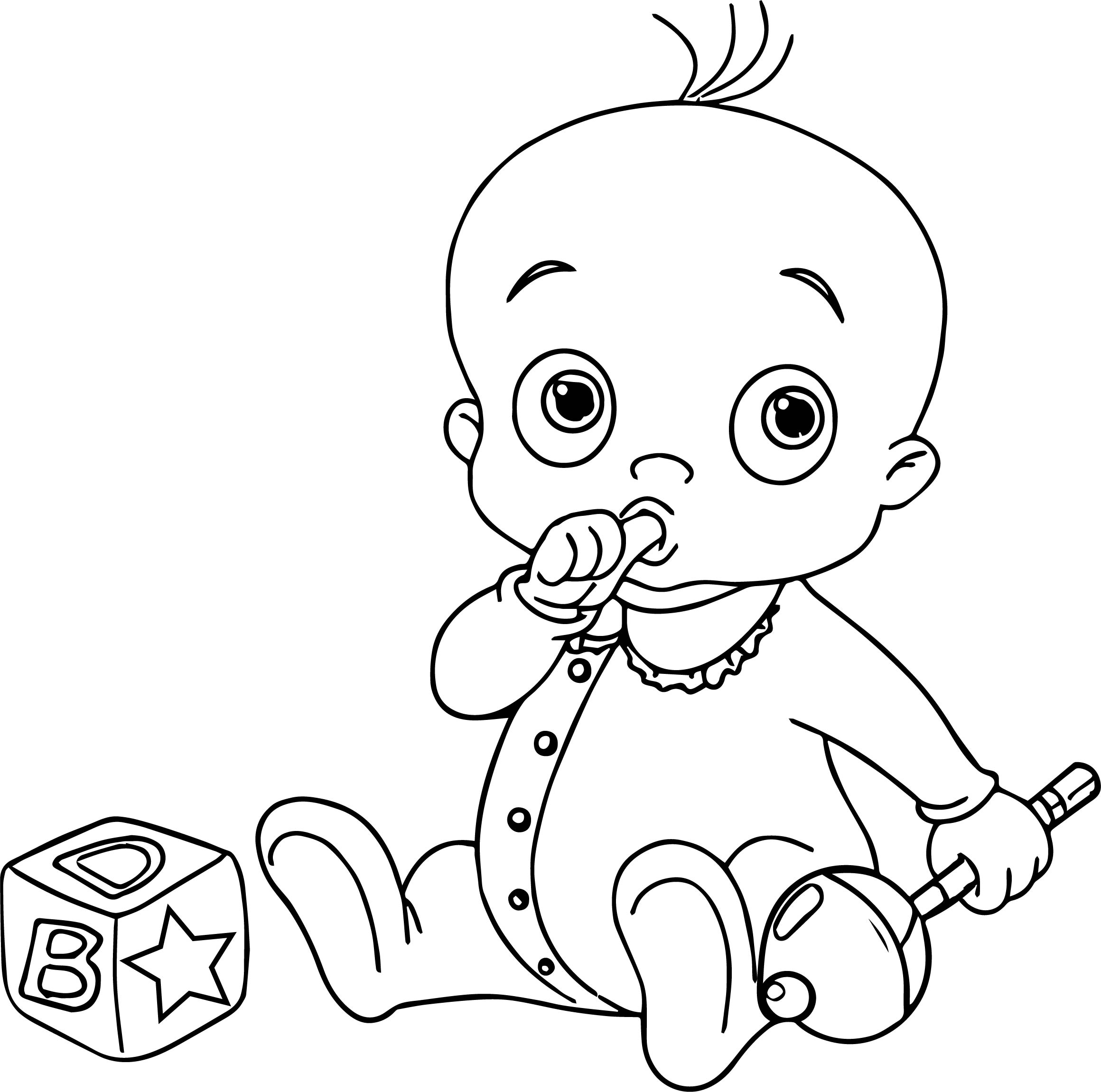 New boy baby coloring page for Baby color page