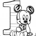 One Baby Mickey Coloring Page