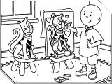 Painting Caillou Coloring Page