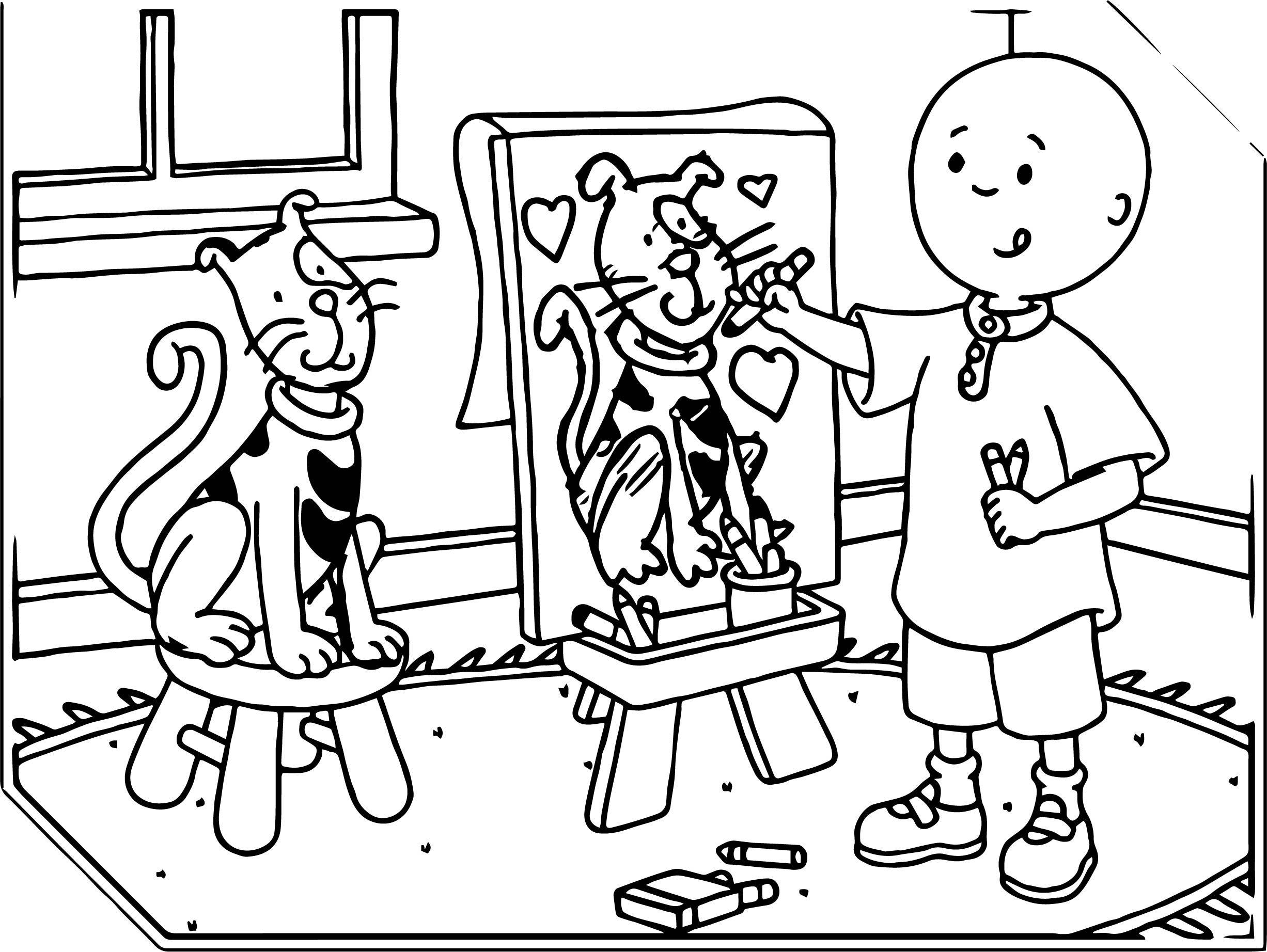 painting caillou coloring page - Caillou Coloring Pages
