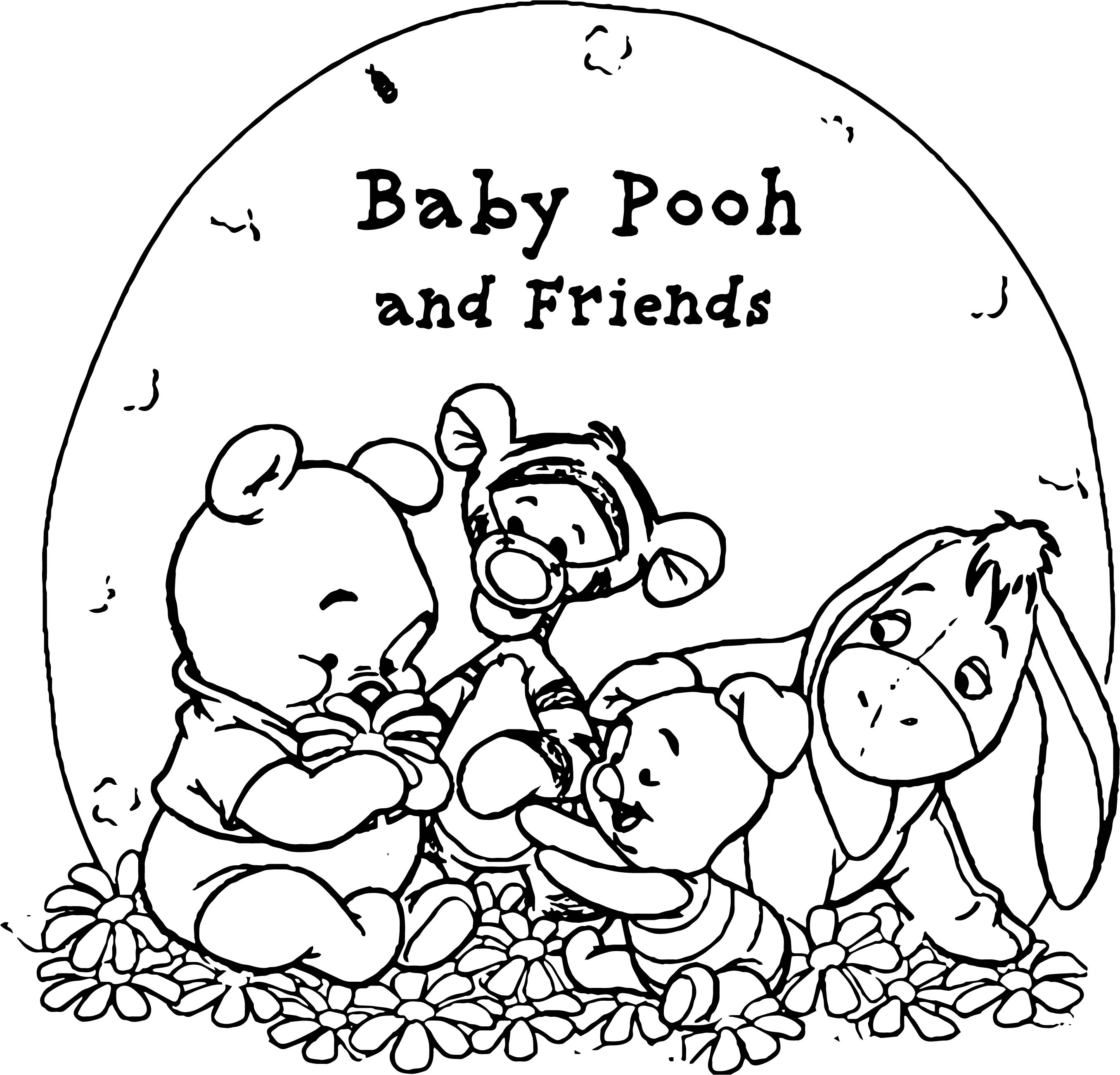 Pooh Wallpaper Baby Pooh And His Friends Coloring Page