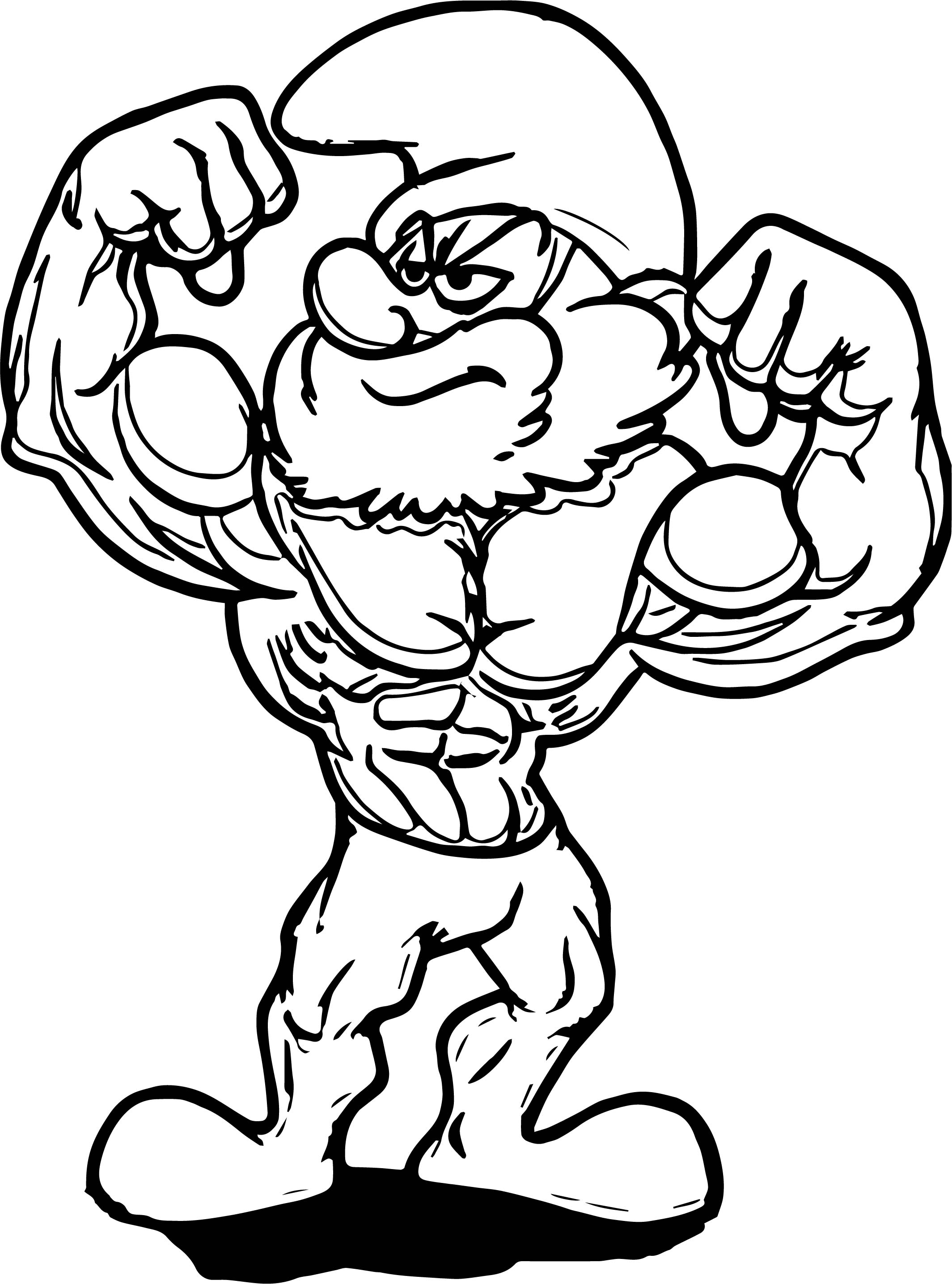Poster Large Strong Papa Smurf Coloring Page