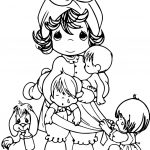 Precious Moments Family Mother Dog Cry Children Coloring Page