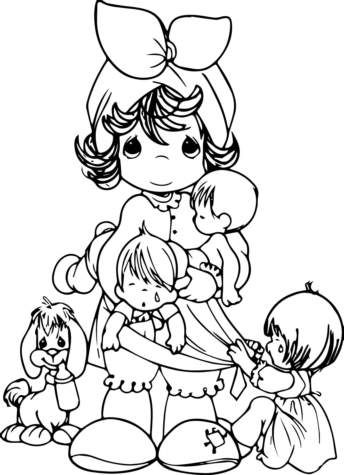 Precious Moments Family Mother Dog Cry Children Coloring Page ...