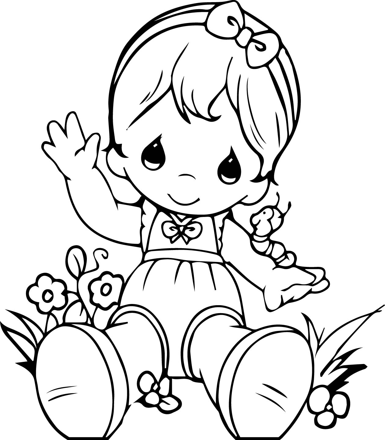 Precious Moments Girl Coloring Page | Wecoloringpage.com