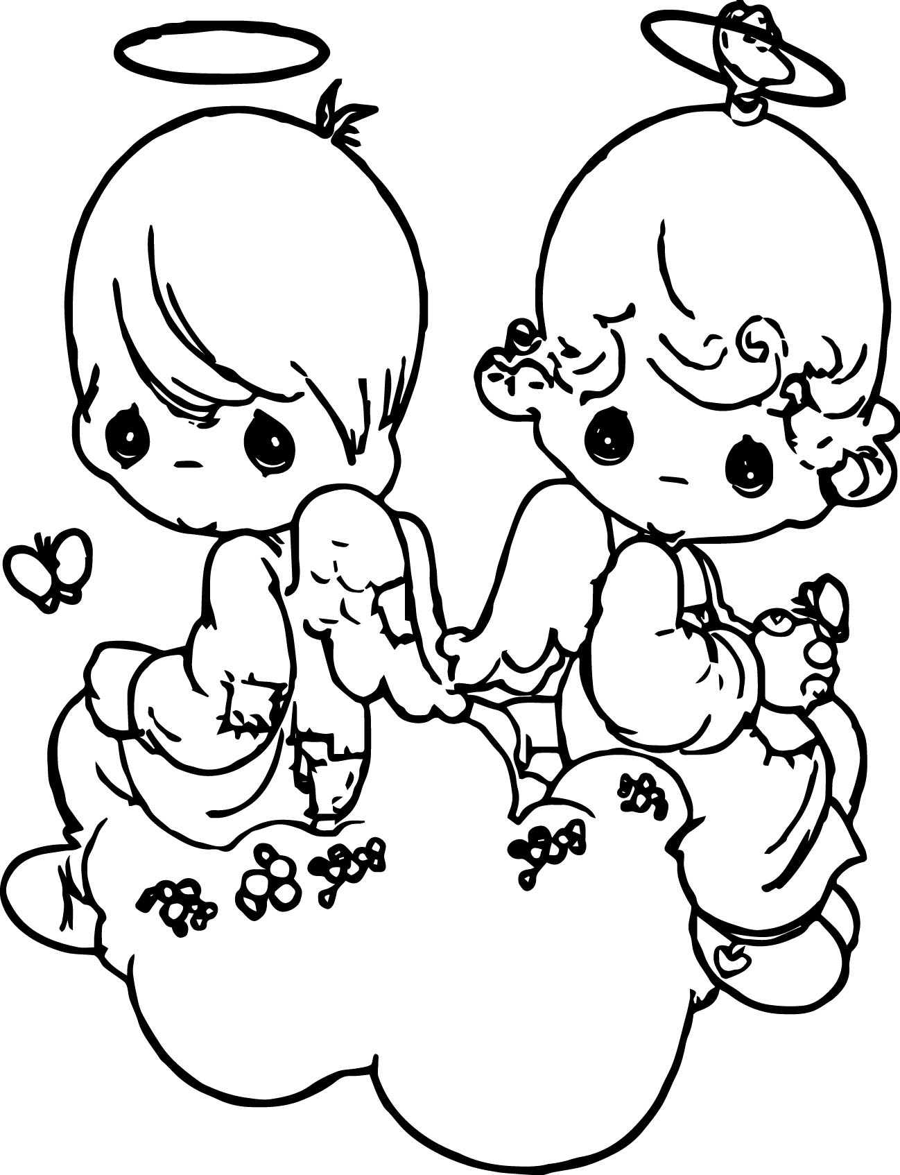 Precious Moments On Heart Coloring Pages