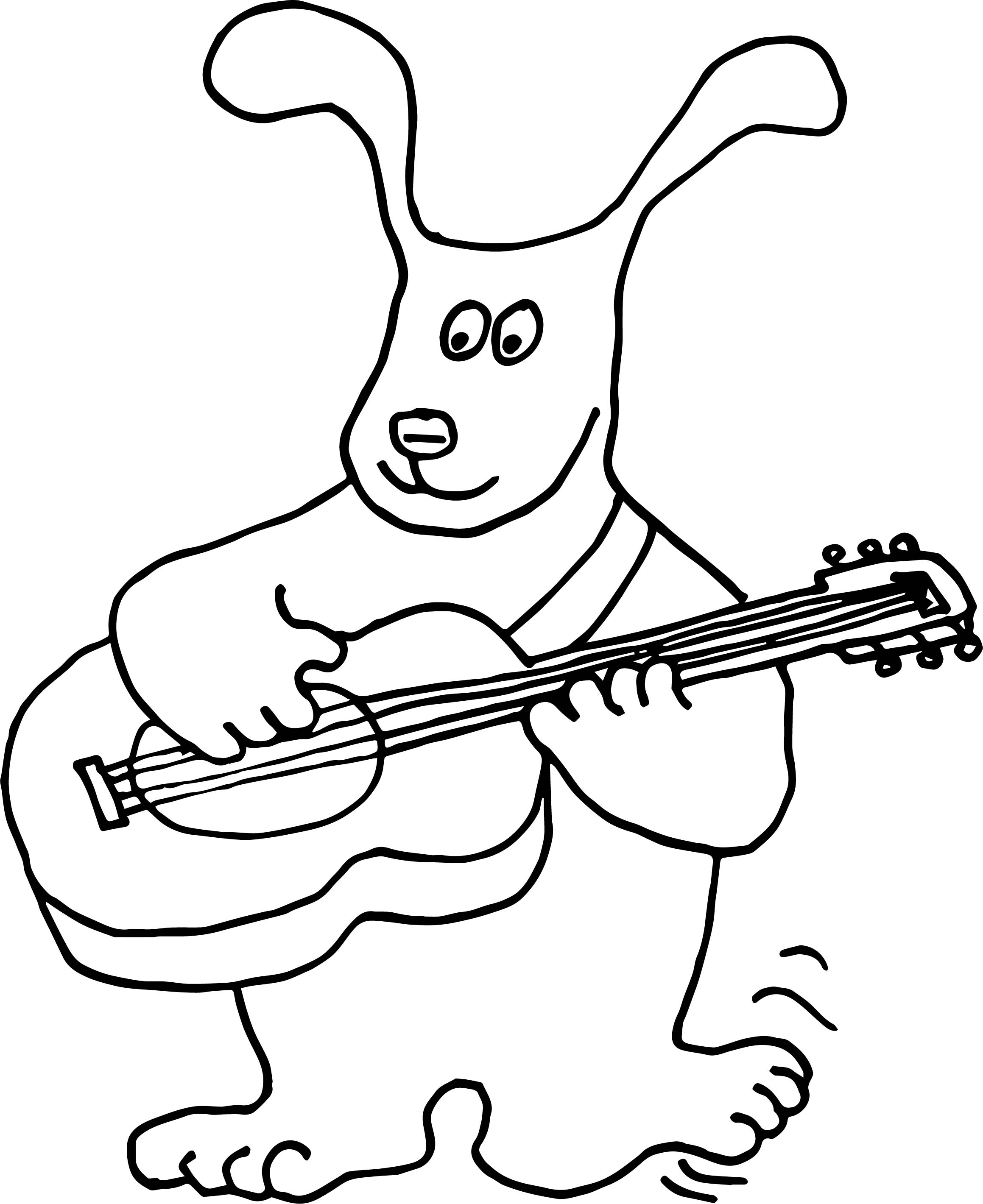 Puppy Dog Guitar Coloring Page