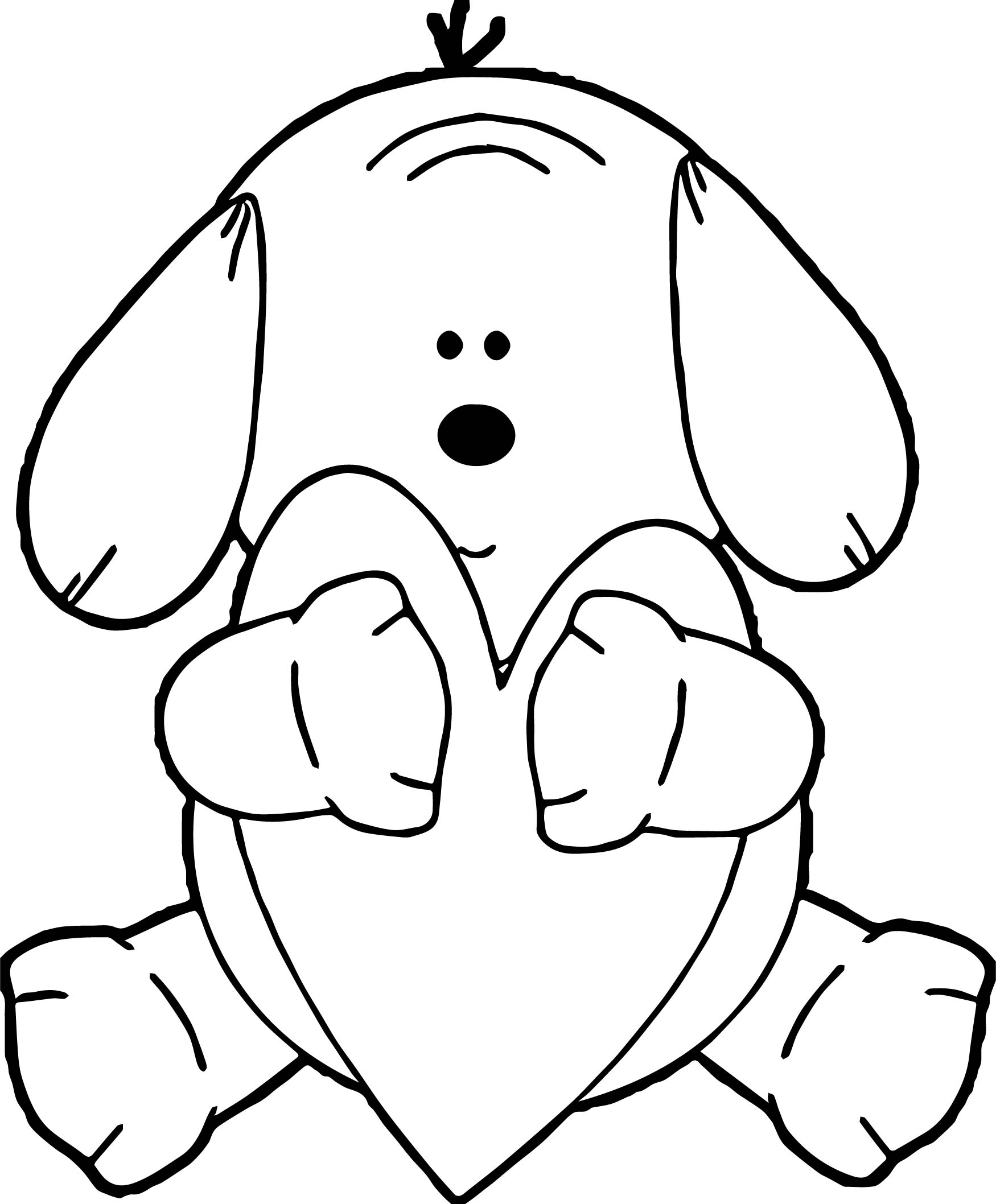 coloring page of a puppy - puppy hugging heart dog puppy coloring page