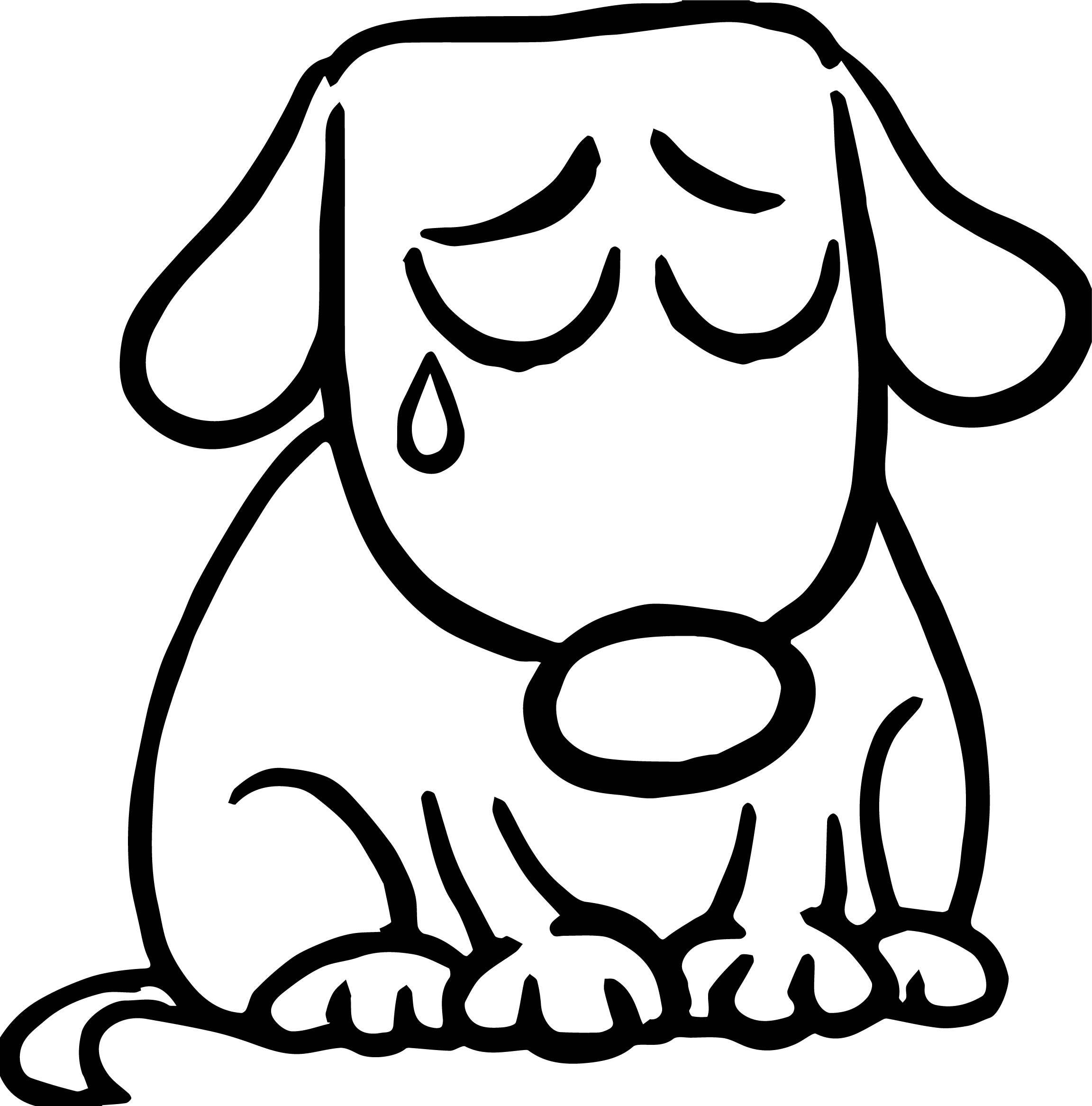 Sad puppy cartoon illustration of cute dog dog puppy for Cute cartoon puppy coloring pages