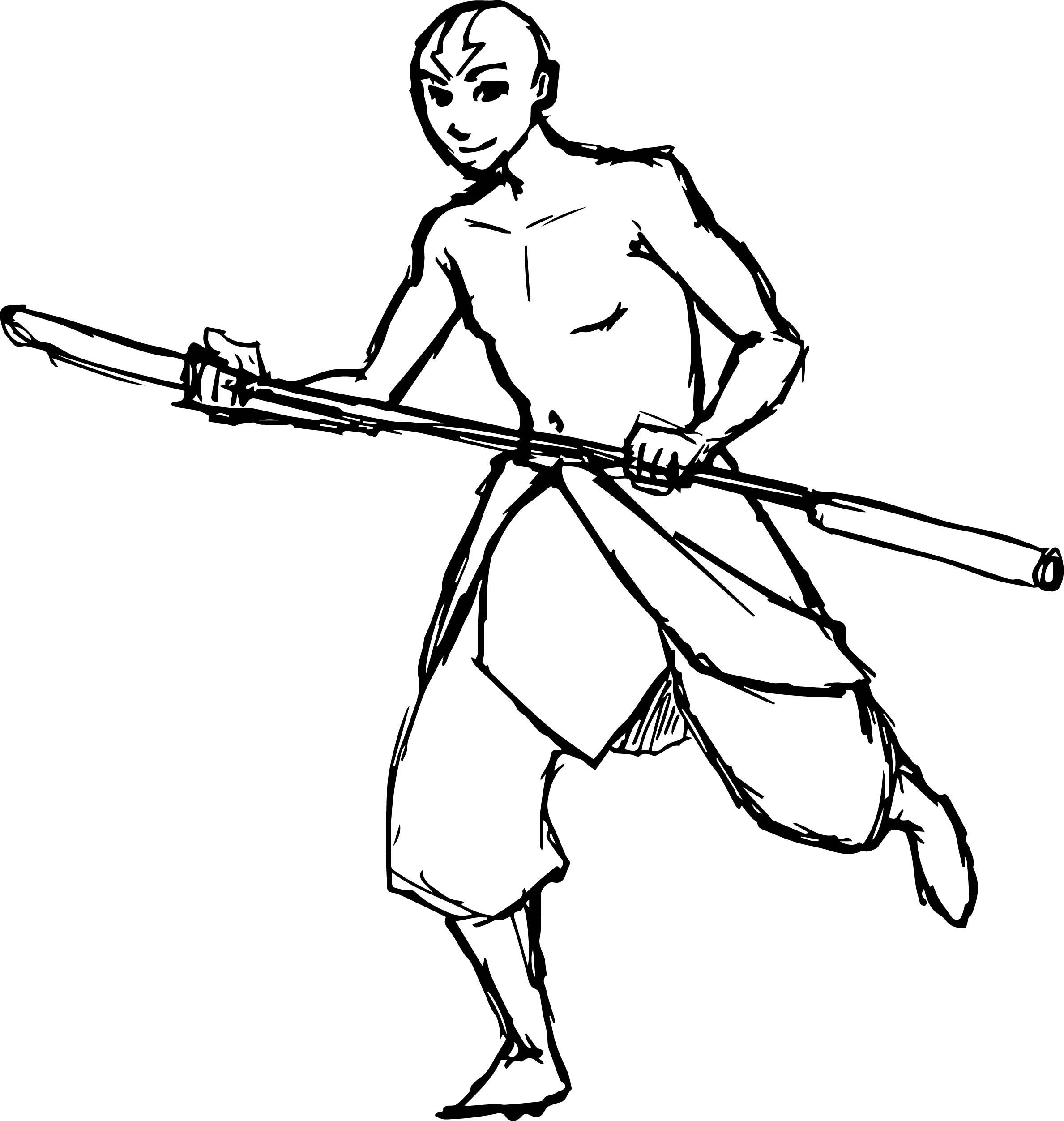 Shirtless Aang River Bird Avatar Aang Coloring Page