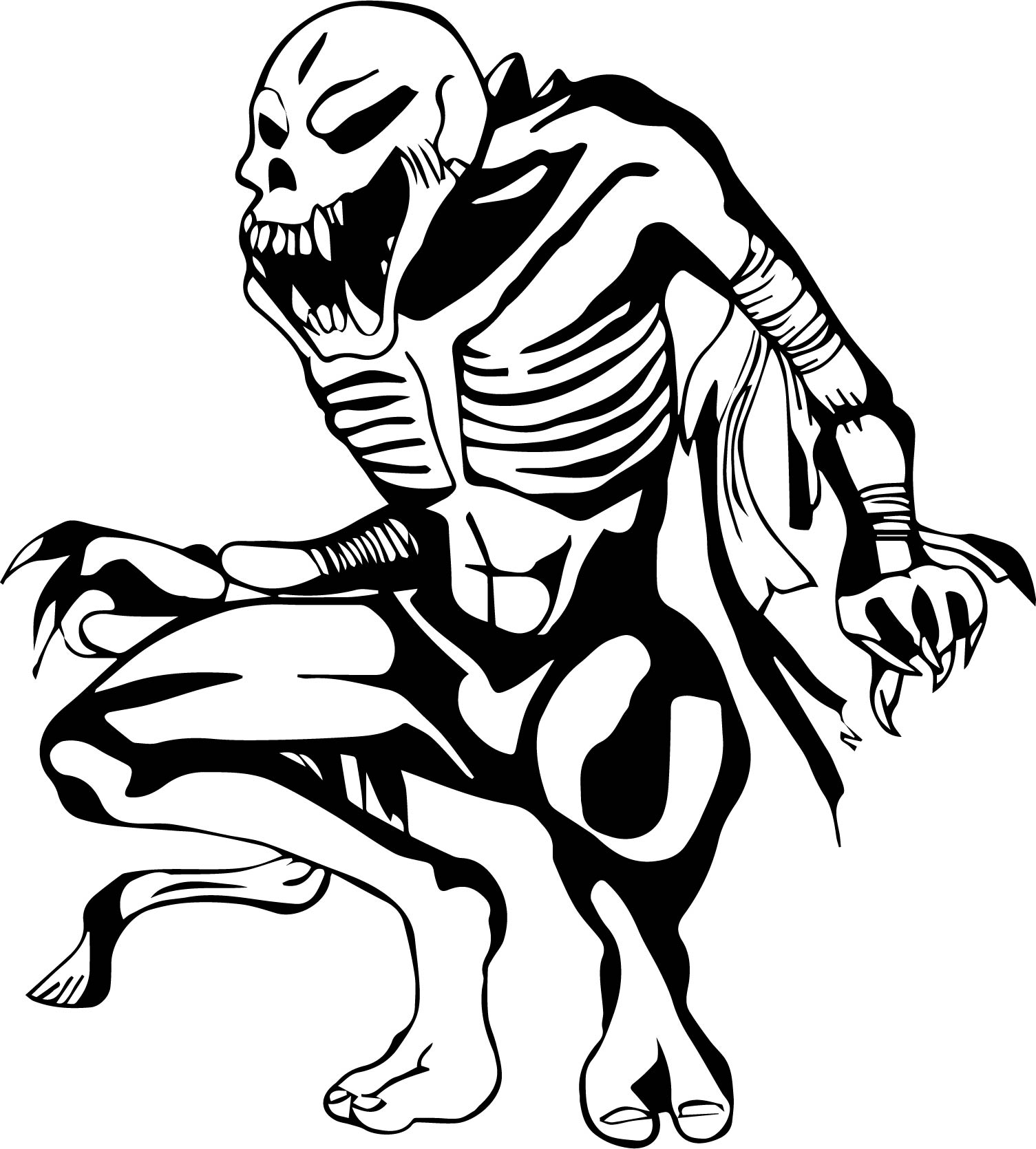 Skeleton waiting coloring page for Skeleton coloring pages