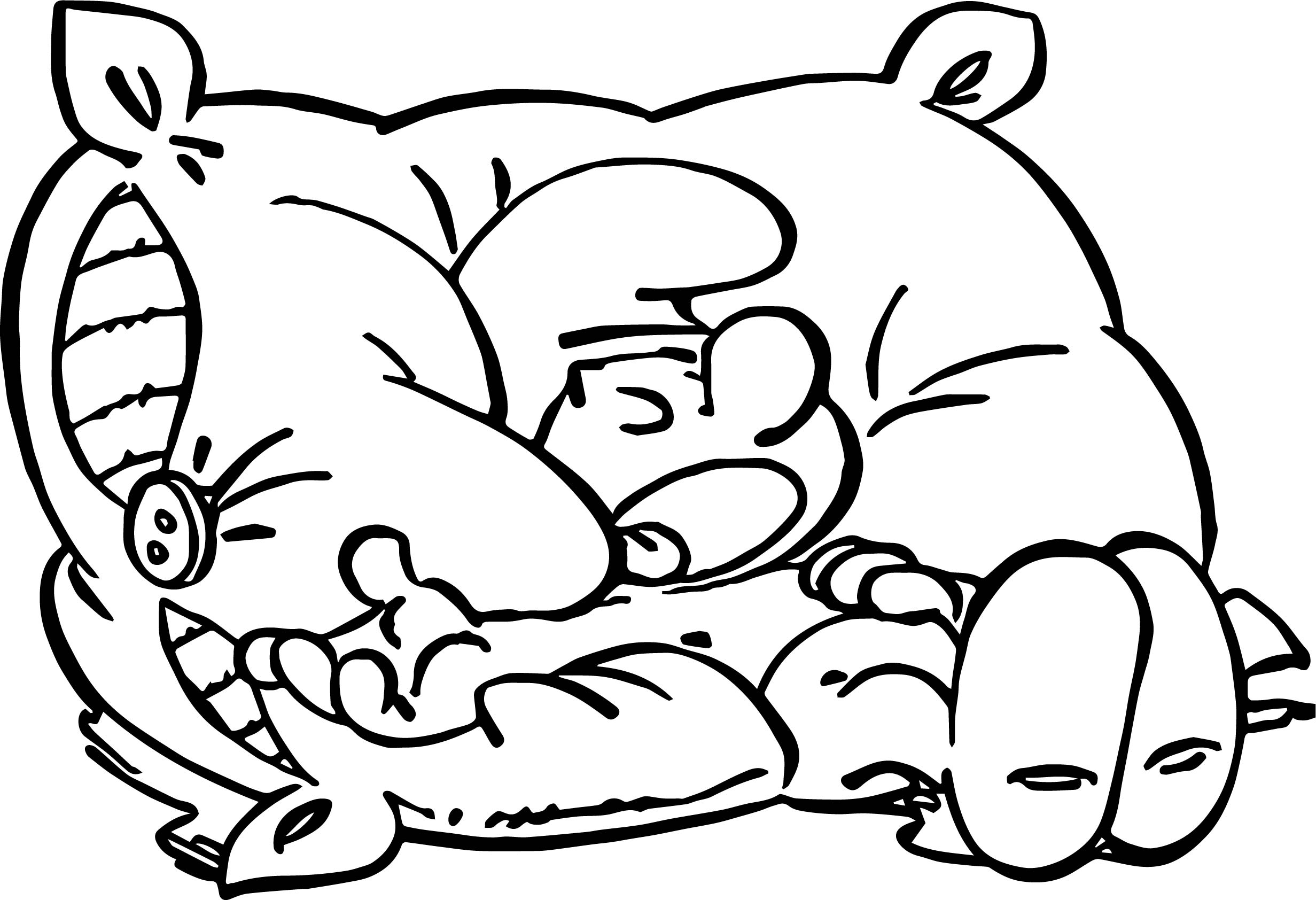 Sleepy Smurf On Pillow Coloring Page