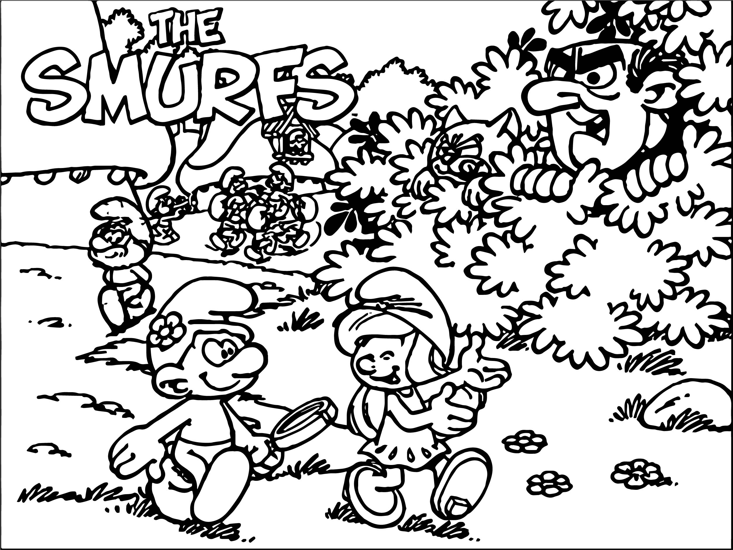 Smurf Coloring Danger Time Page