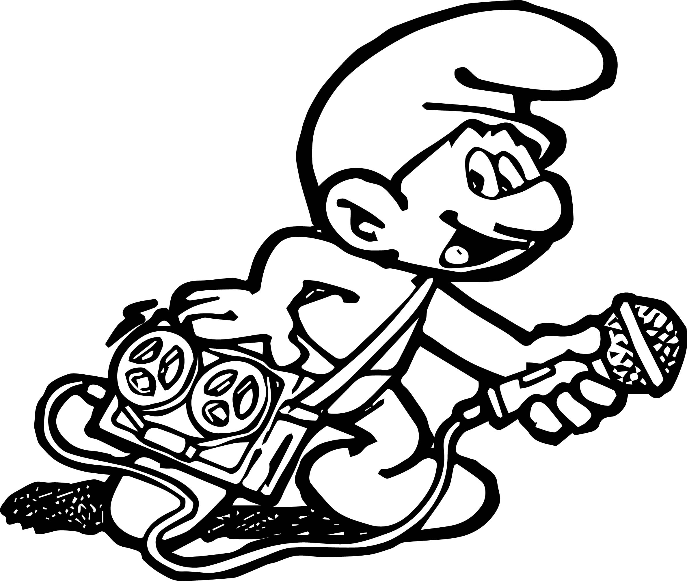 Smurf Coloring Page Music Player Smurf Coloring Page