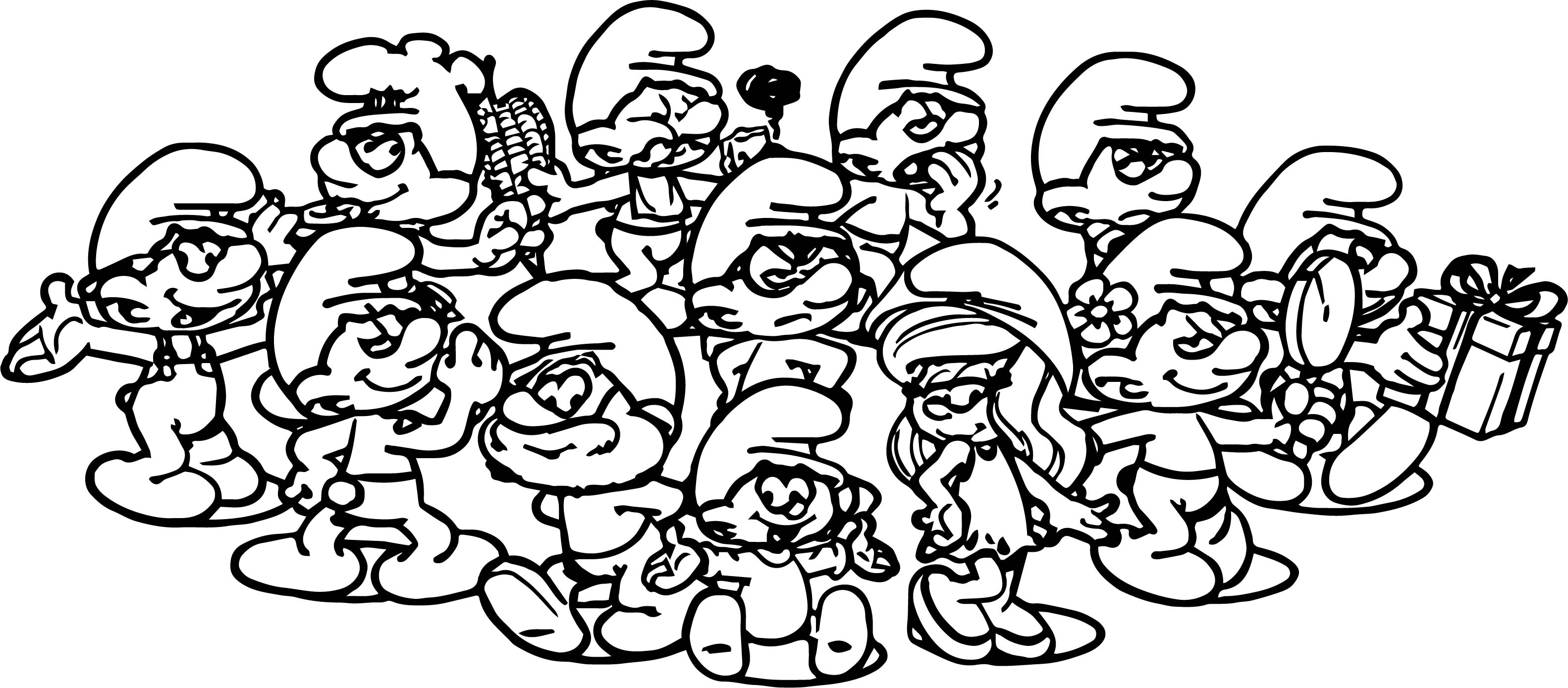 Smurf Family Coloring Page