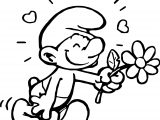Smurf Going To Flower Coloring Pages