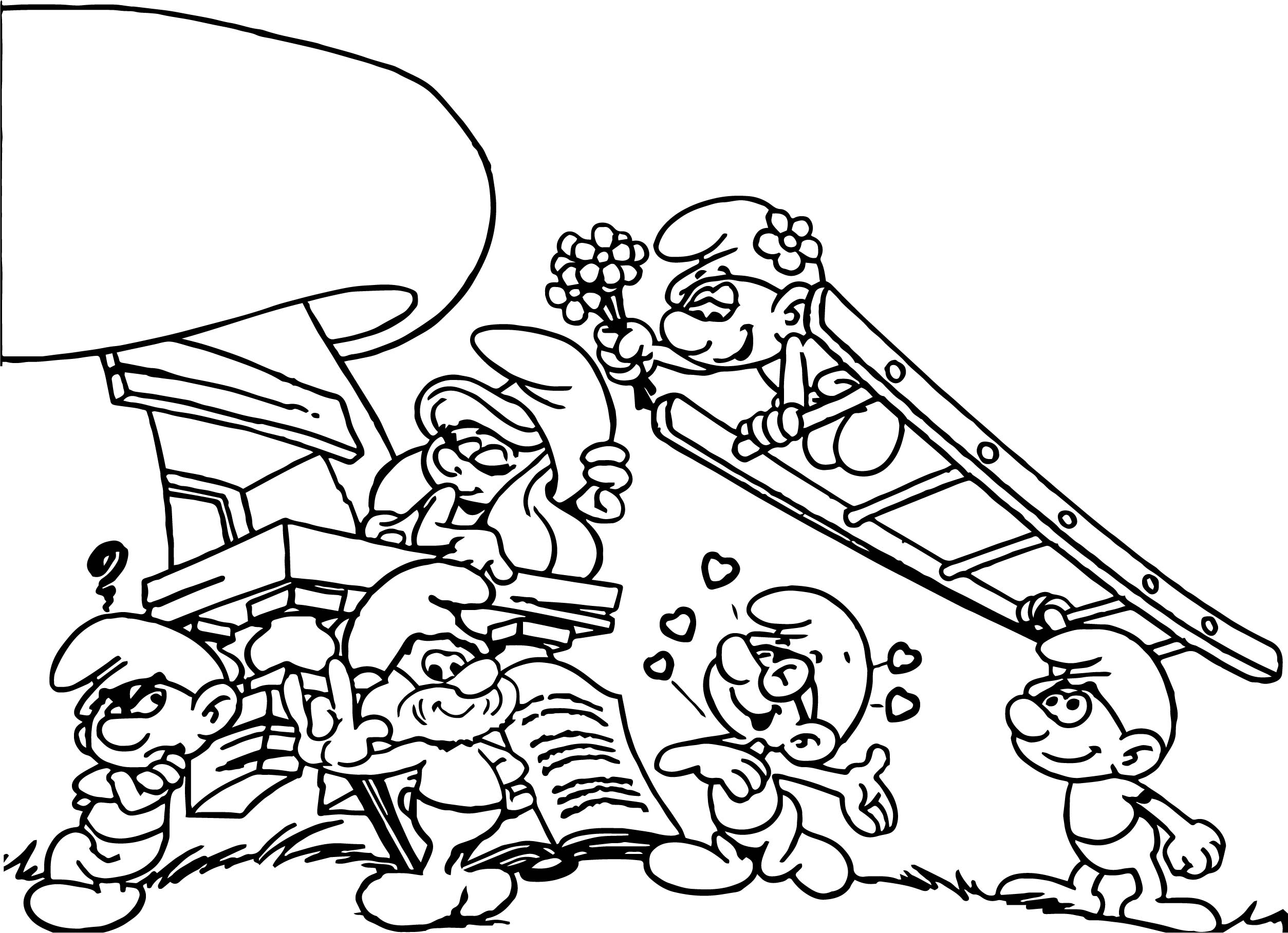 Smurf Scene Coloring Page