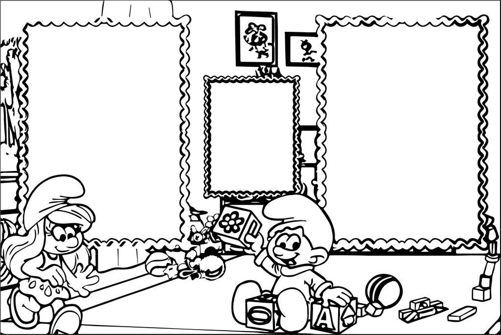 smurfette border frame smurf coloring page