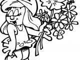 Smurfette Smurf Give Flower Coloring Page