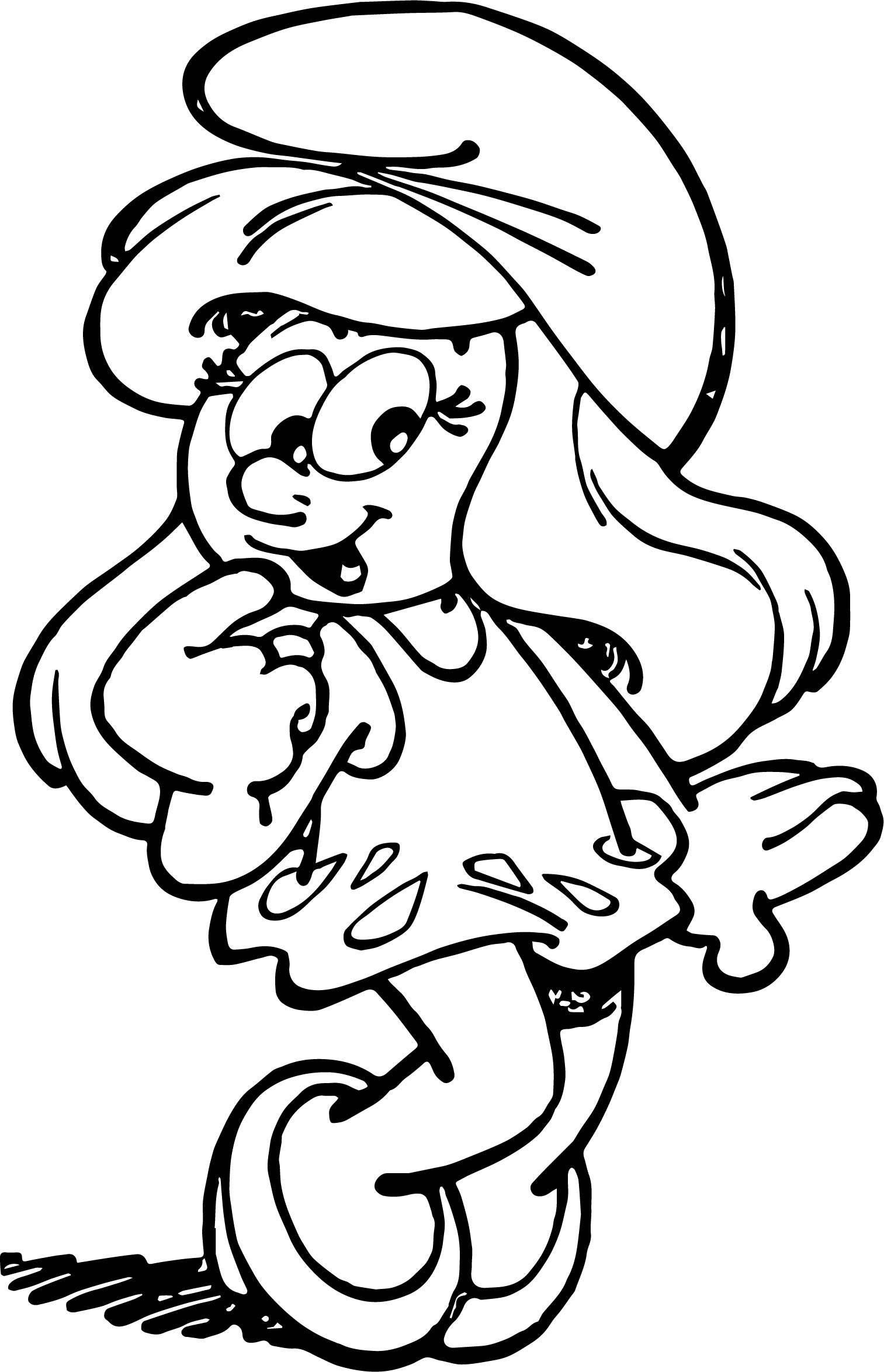 Smurfette Thinking Smurf Coloring Page