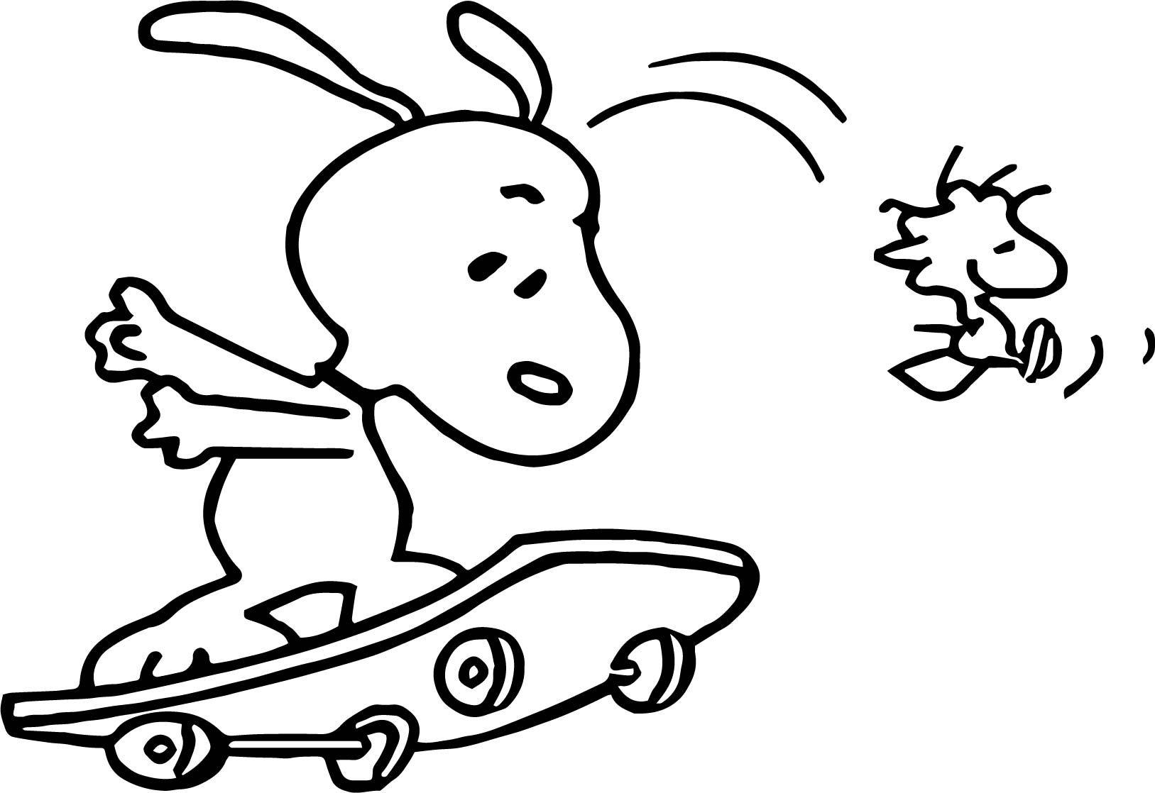 snoopy and on skate woodstock coloring page