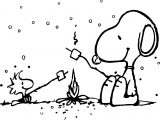 Snoopy And Woodstock Camping Coloring Page