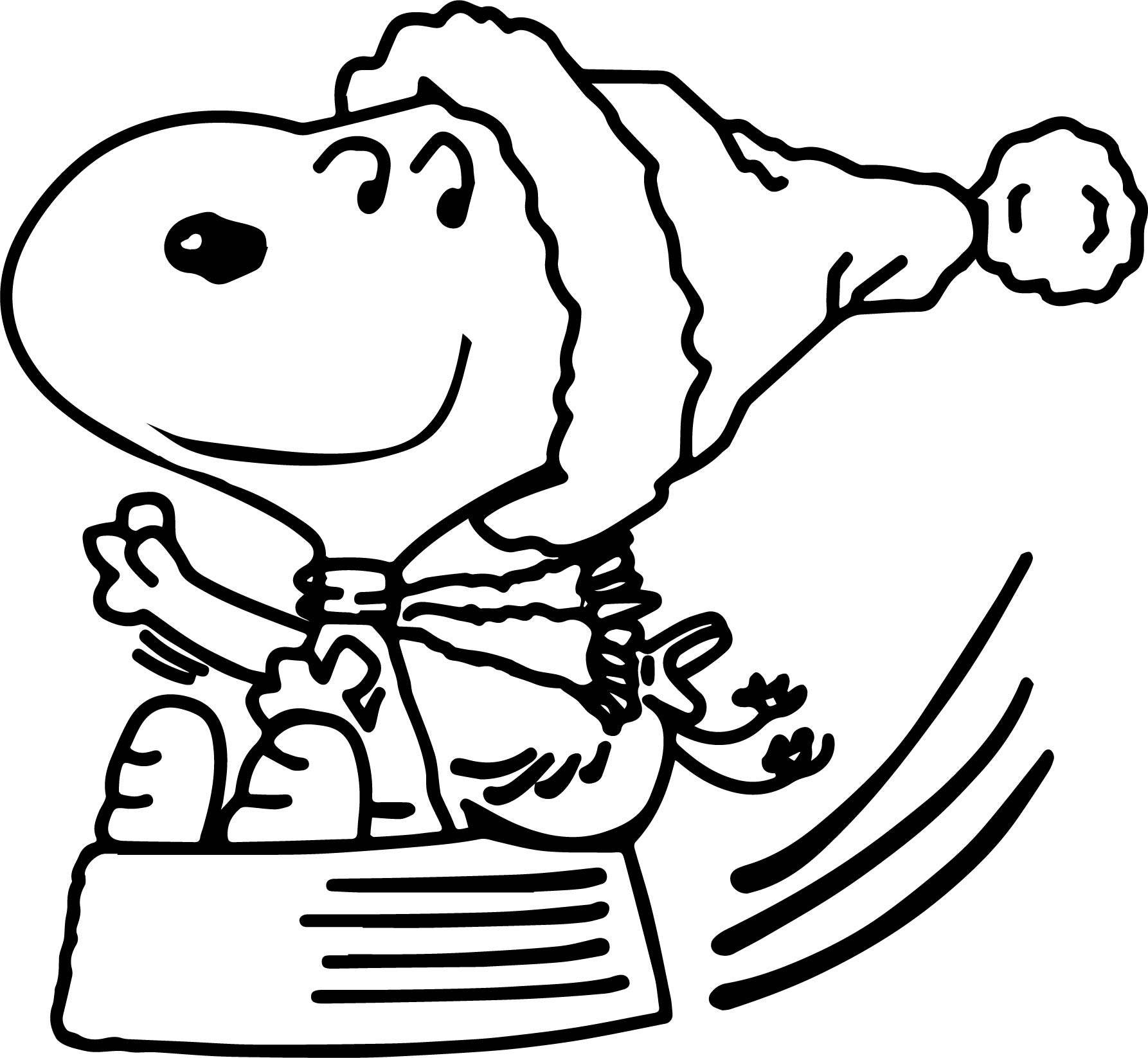 Snoopy christmas sleigh coloring page for Snoopy coloring page