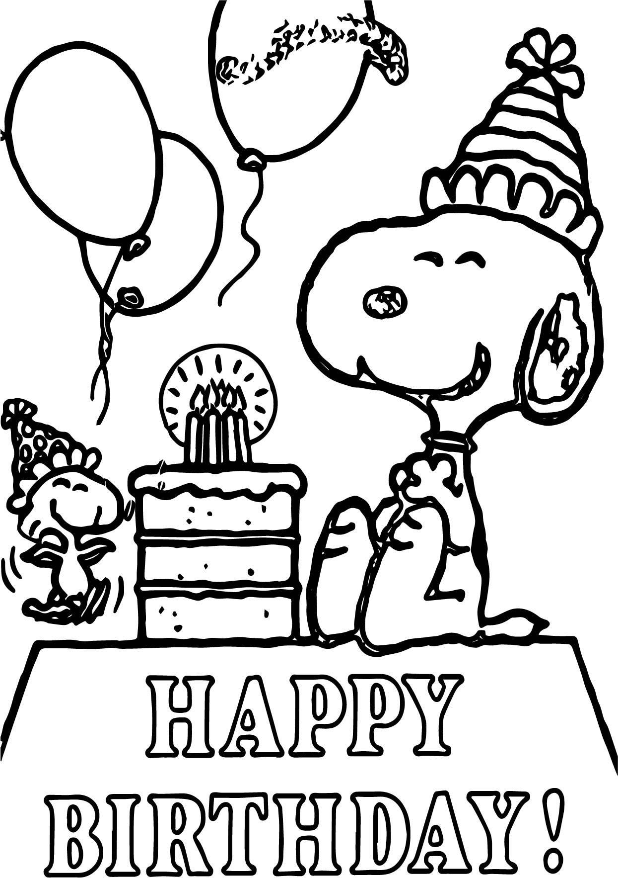 Snoopy Happy Birthday Quote Coloring Page Wecoloringpage Com