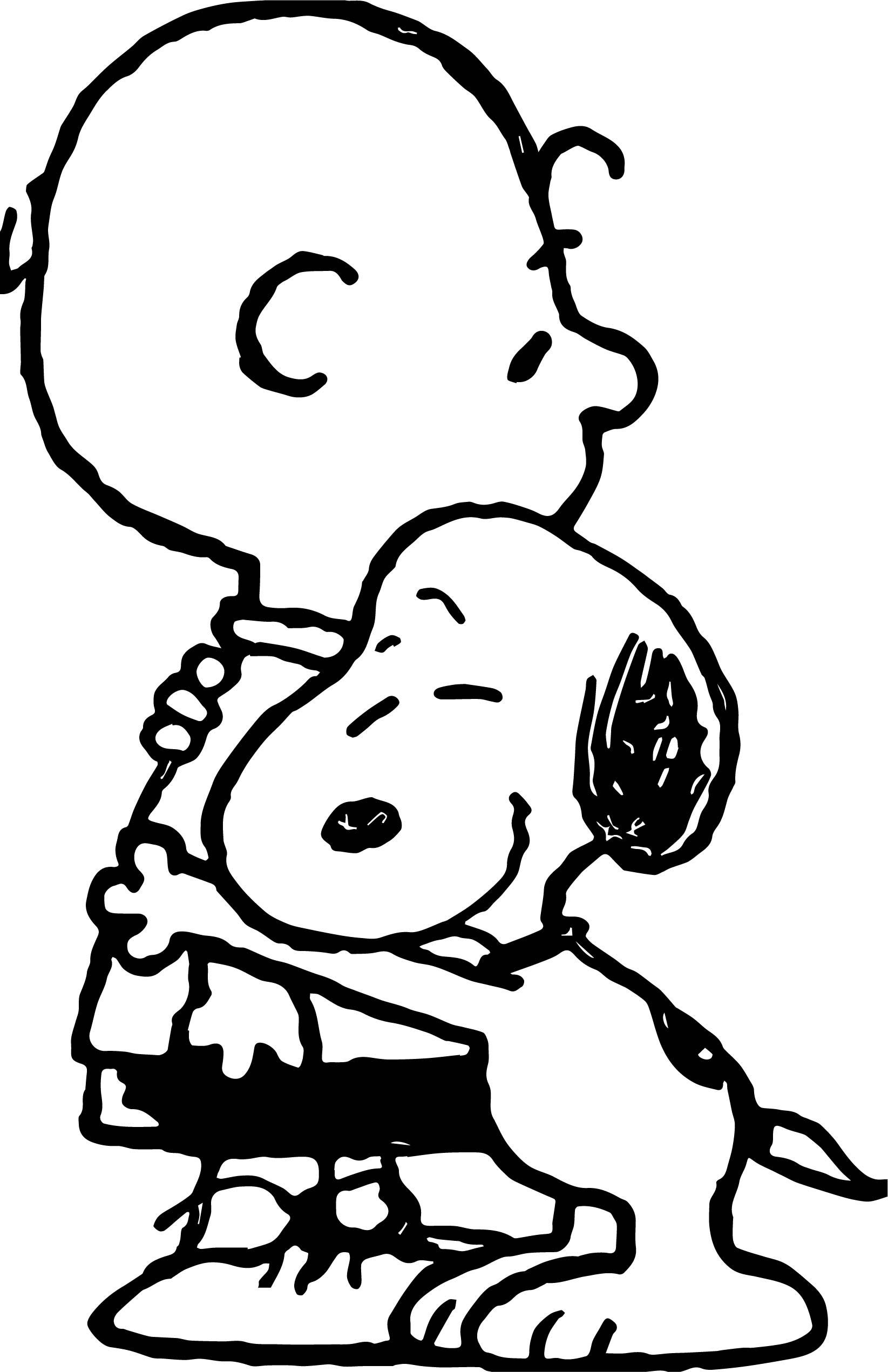 Snoopy Hug Coloring Page