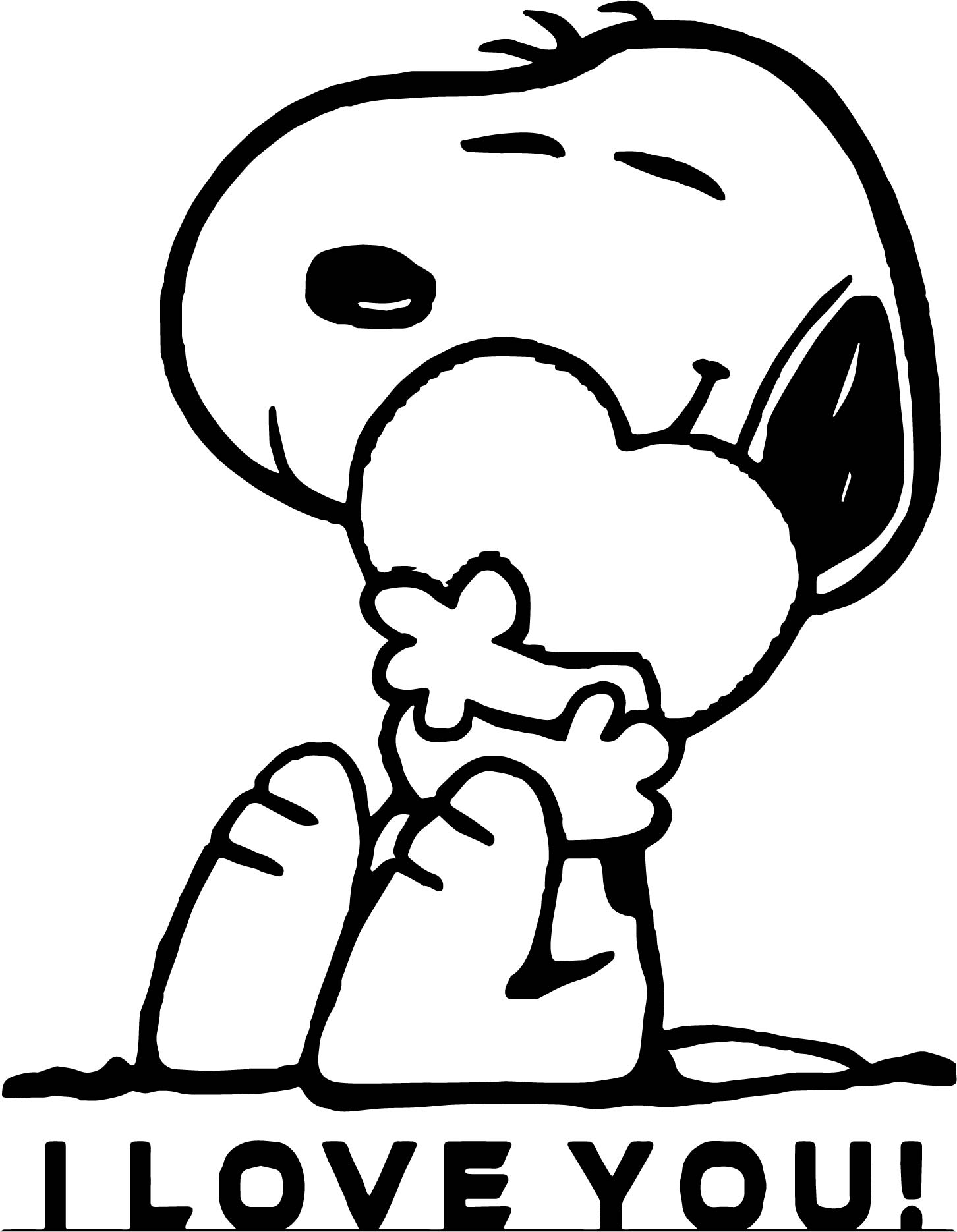 Snoopy i love you coloring page for Coloring pages of i love you