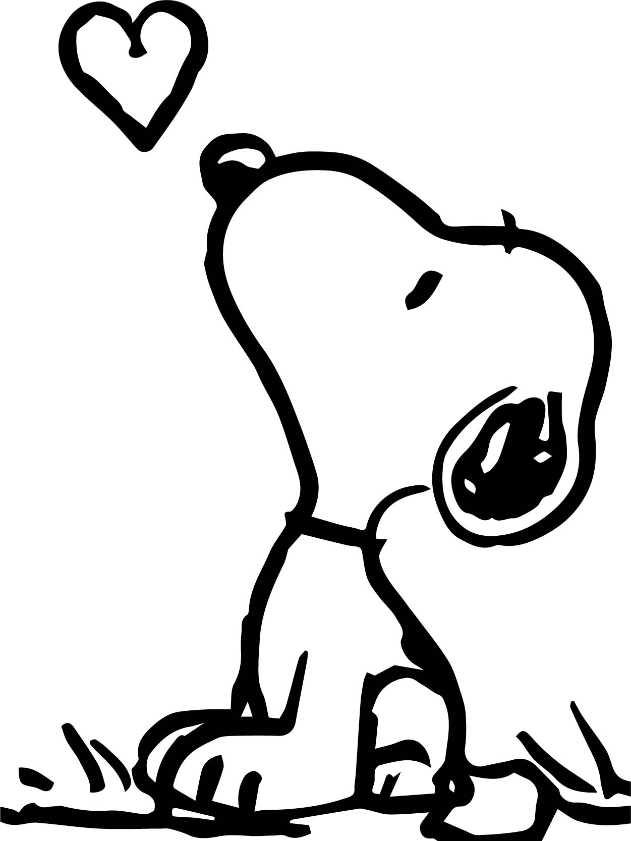 Snoopy Look Fly Heart Coloring Page