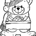Snow Boy Bear Toy Coloring Page