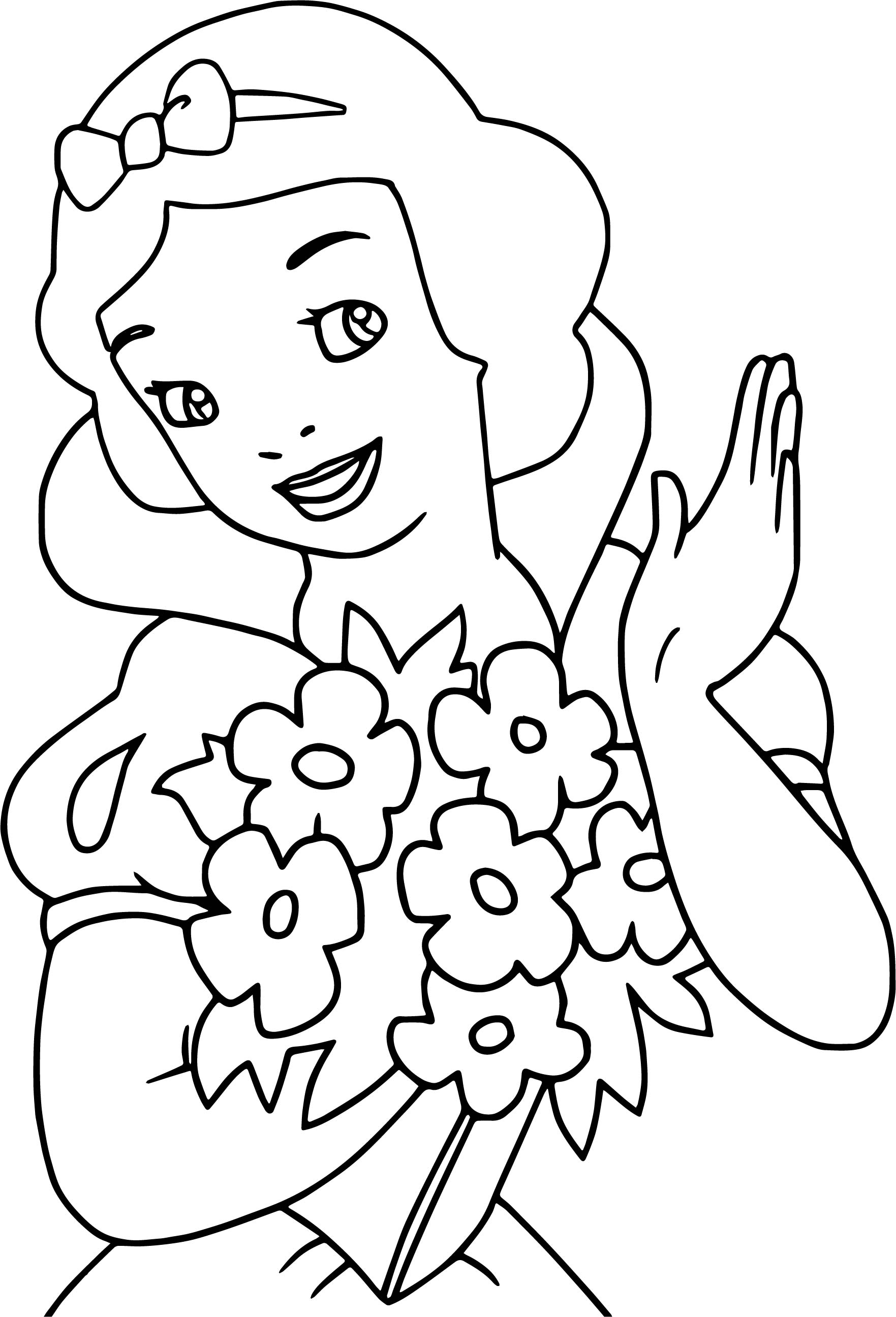 Snow White Bucket Flower Coloring Page